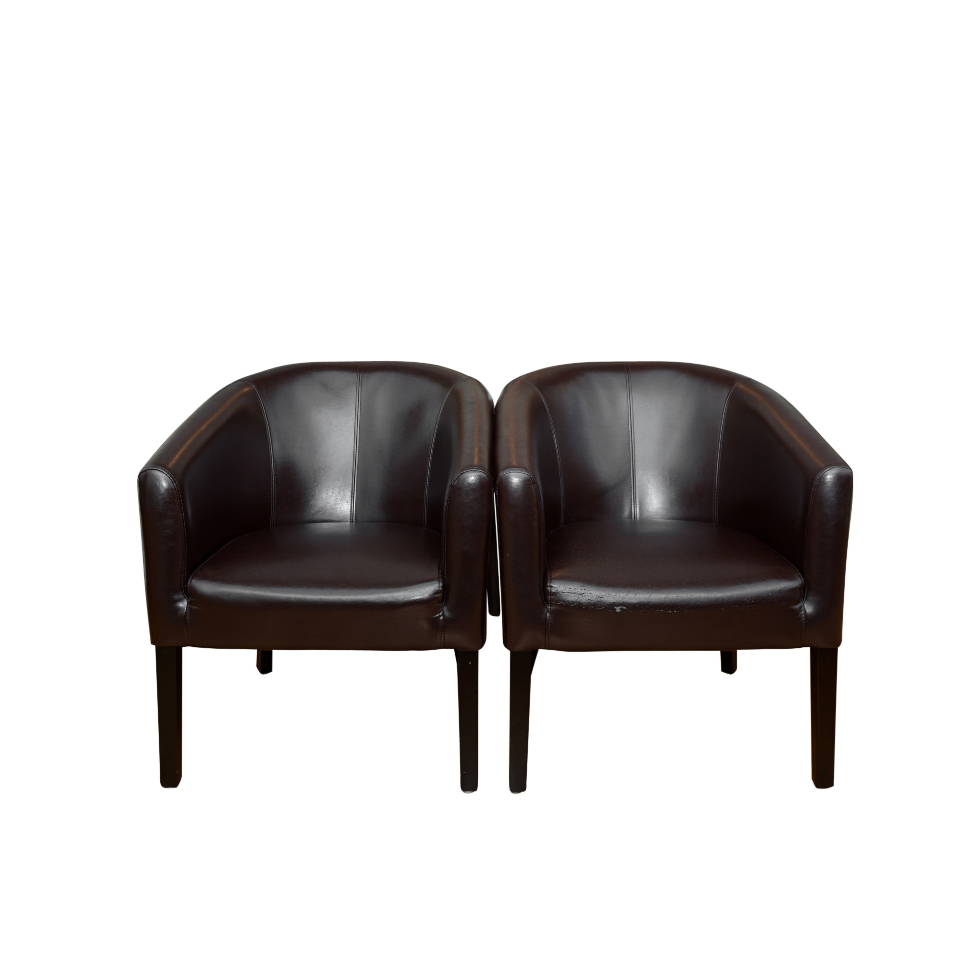 Pair of Bonded Leather Tub Chairs by Home Accents