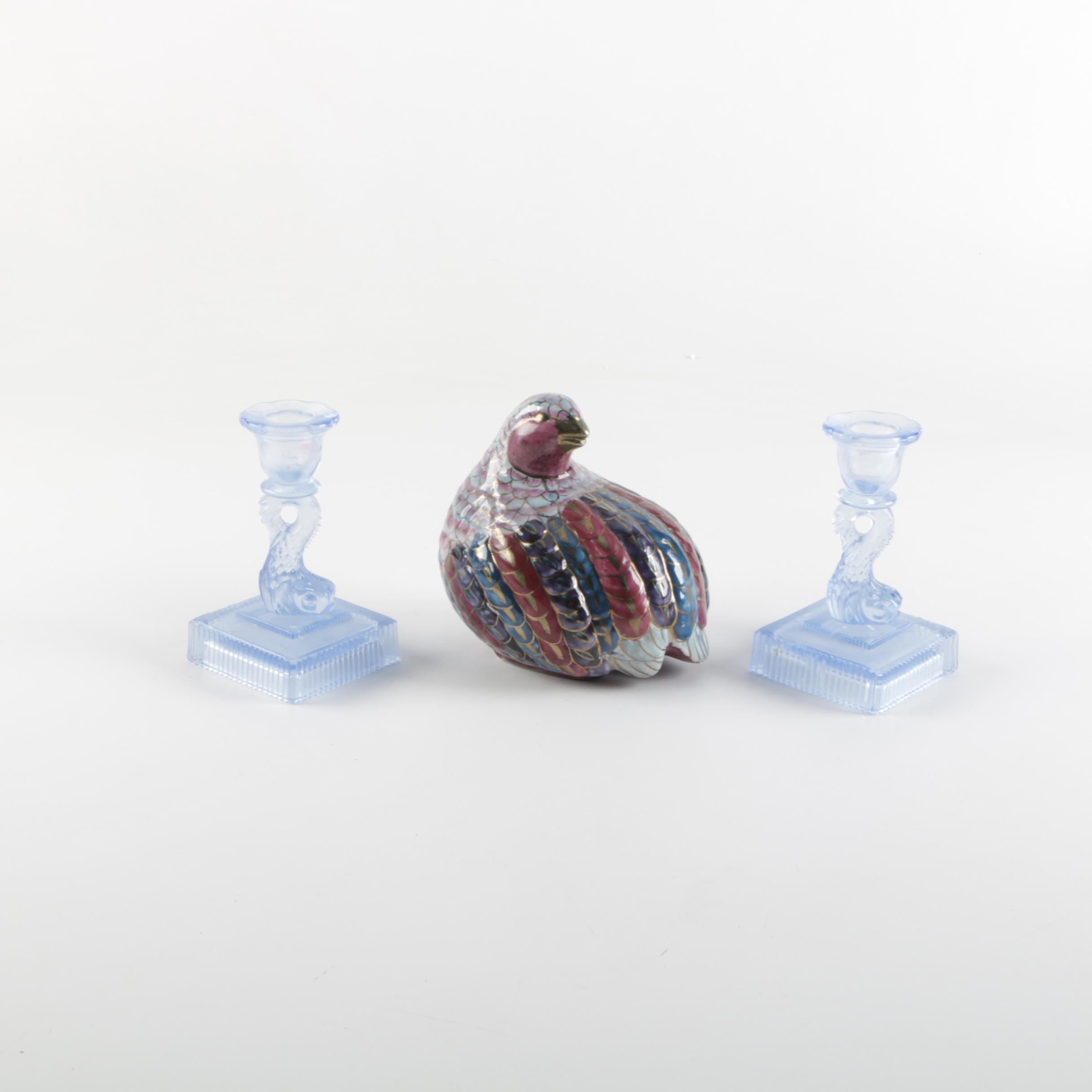 Glass Candle Holders and Ceramic Bird Figurine