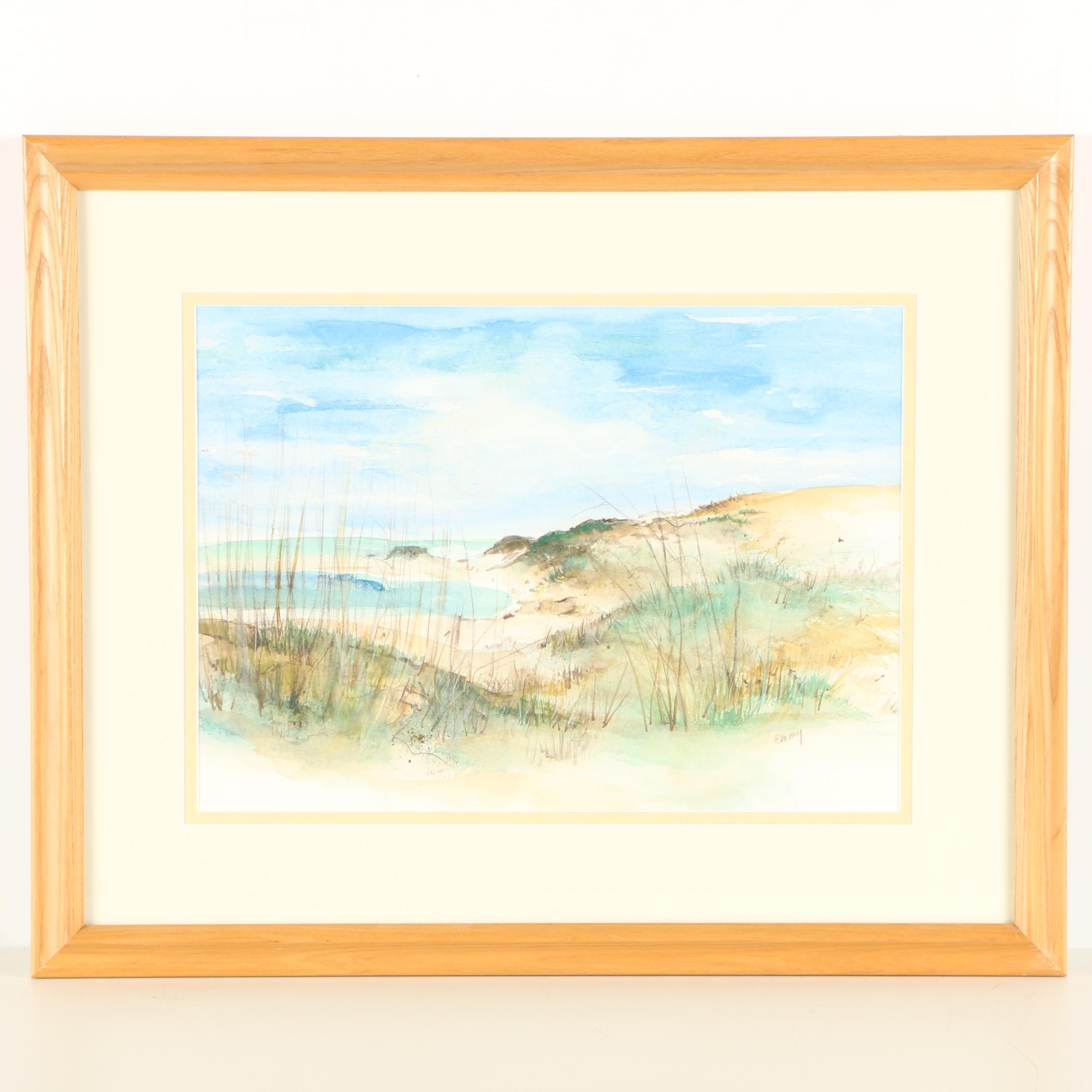 Emmy Watercolor Painting of Coastal Landscape