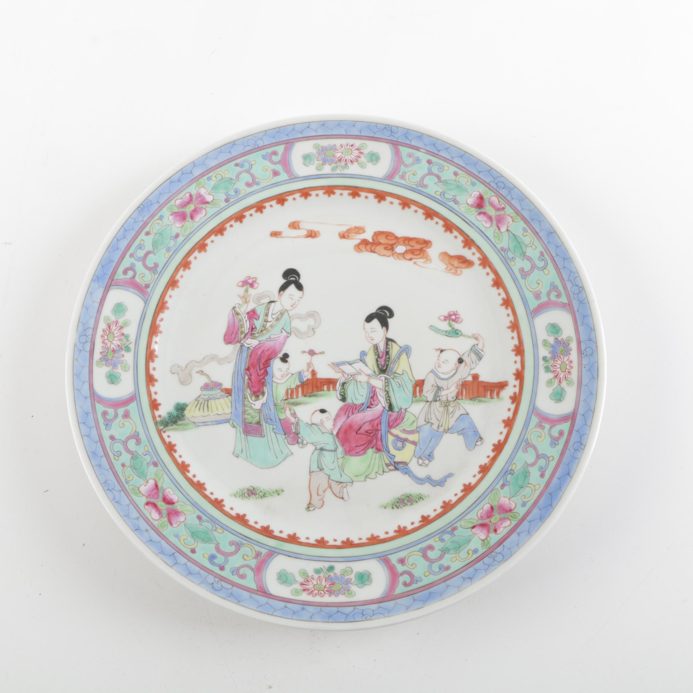 Vintage Chinese Hand-painted Porcelain Plate