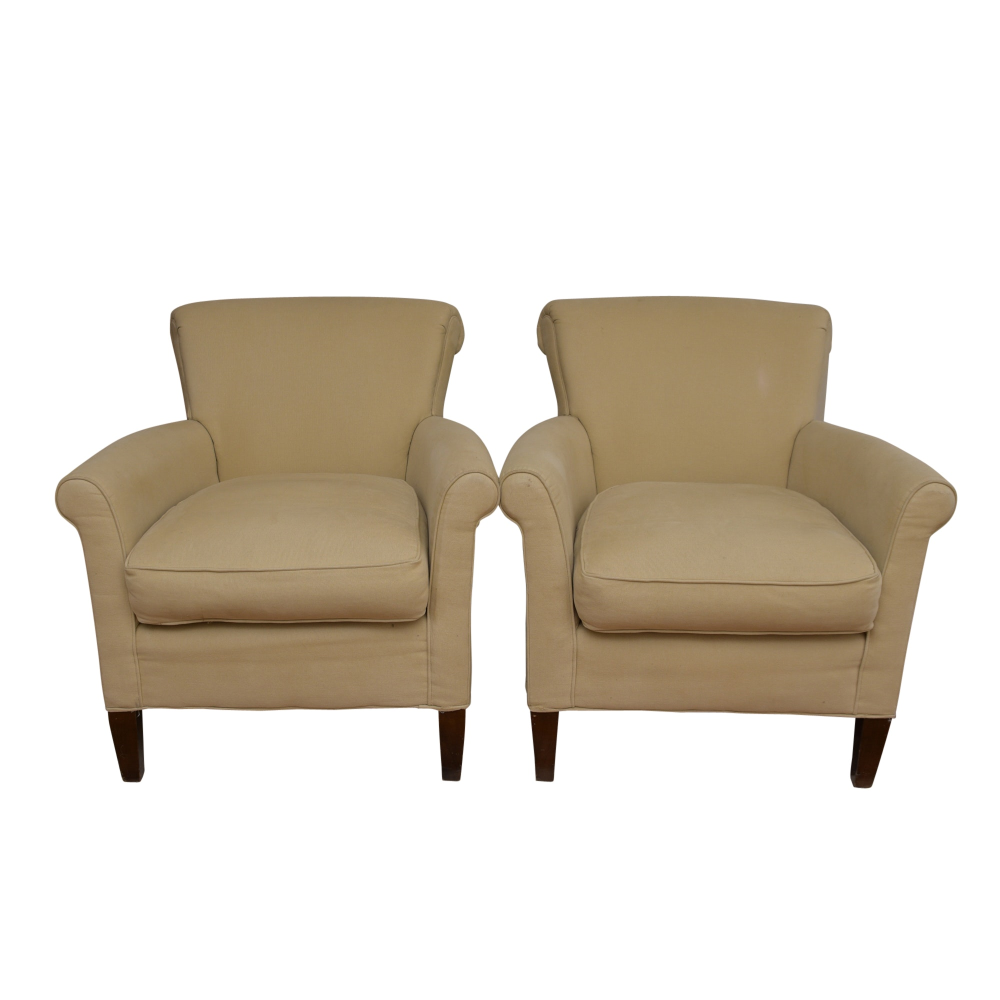Beige-Upholstered Armchairs by the Pembrook Chair Corp.