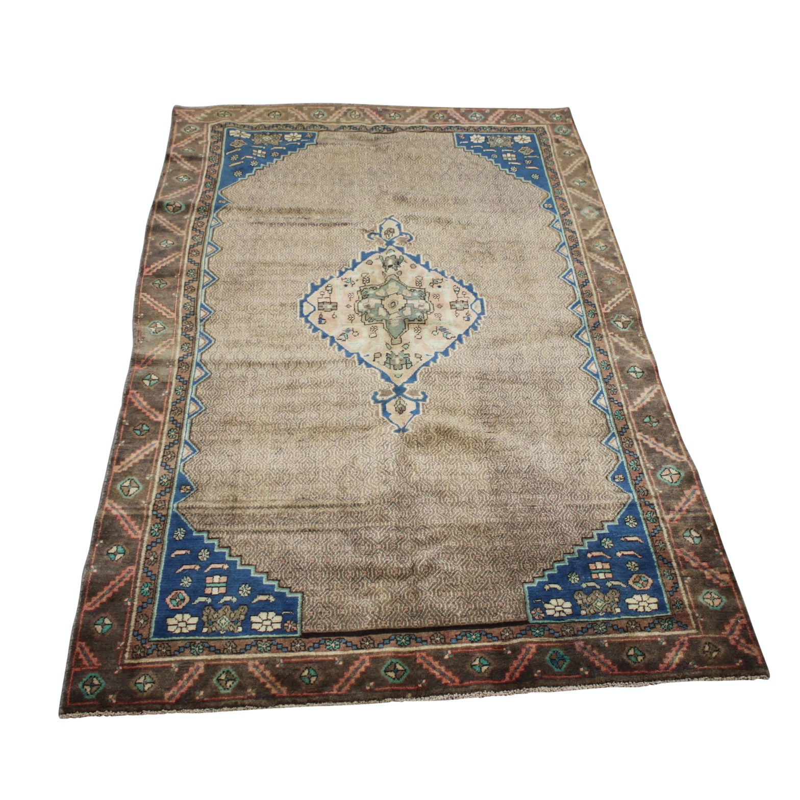 Vintage Hand-Knotted Persian Senneh Bijar Area Rug