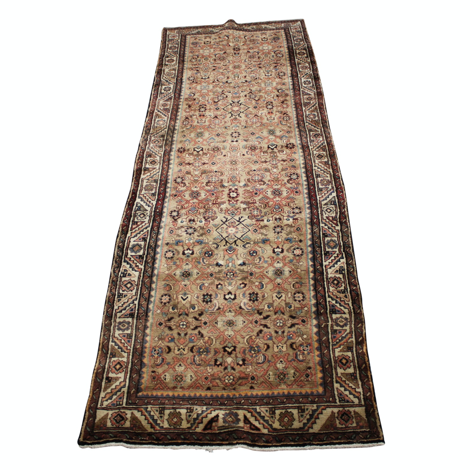 Vintage Hand-Knotted Persian Lilihan Wool Long Rug