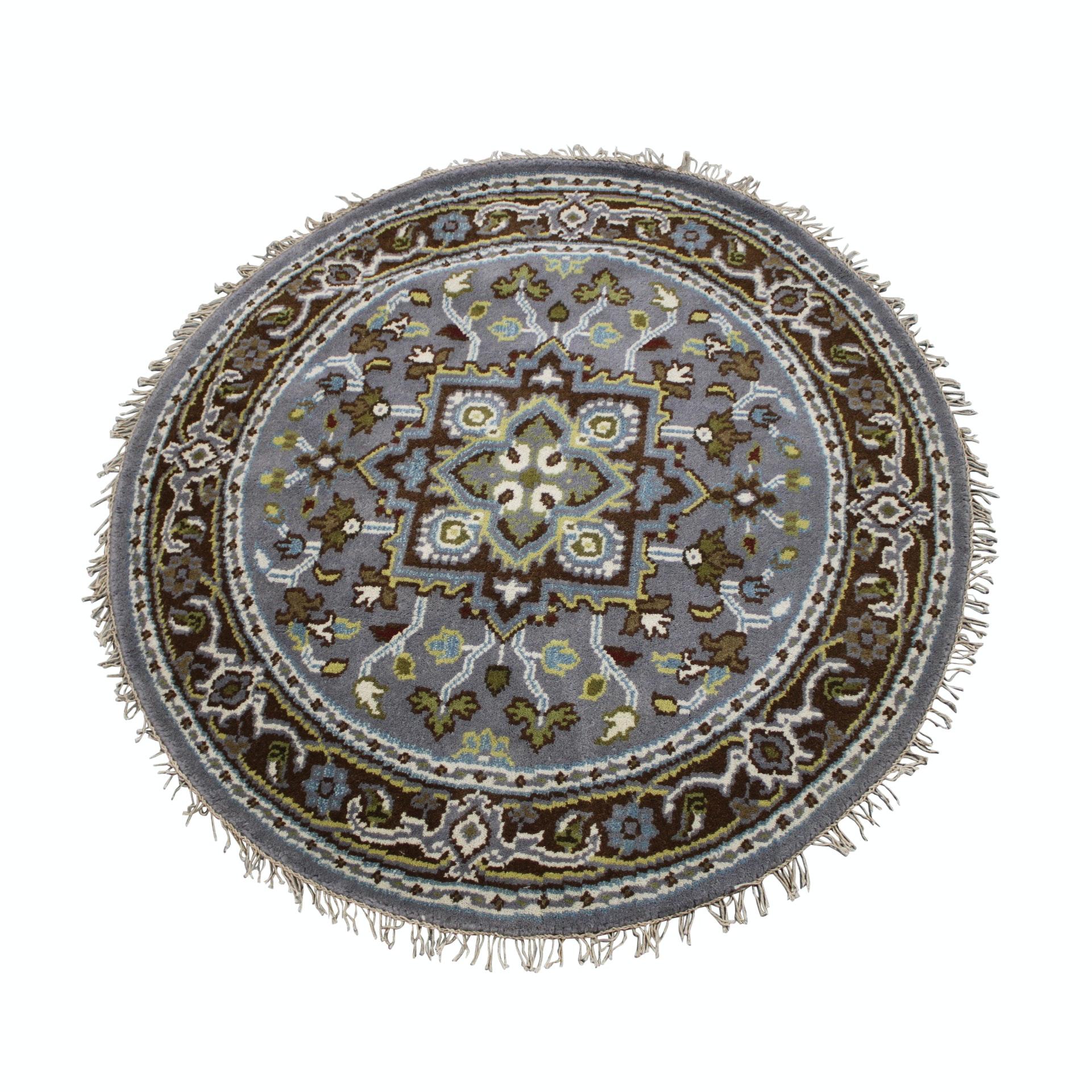 Hand-Knotted Persian Bakshaish Heriz Round Wool Area Rug