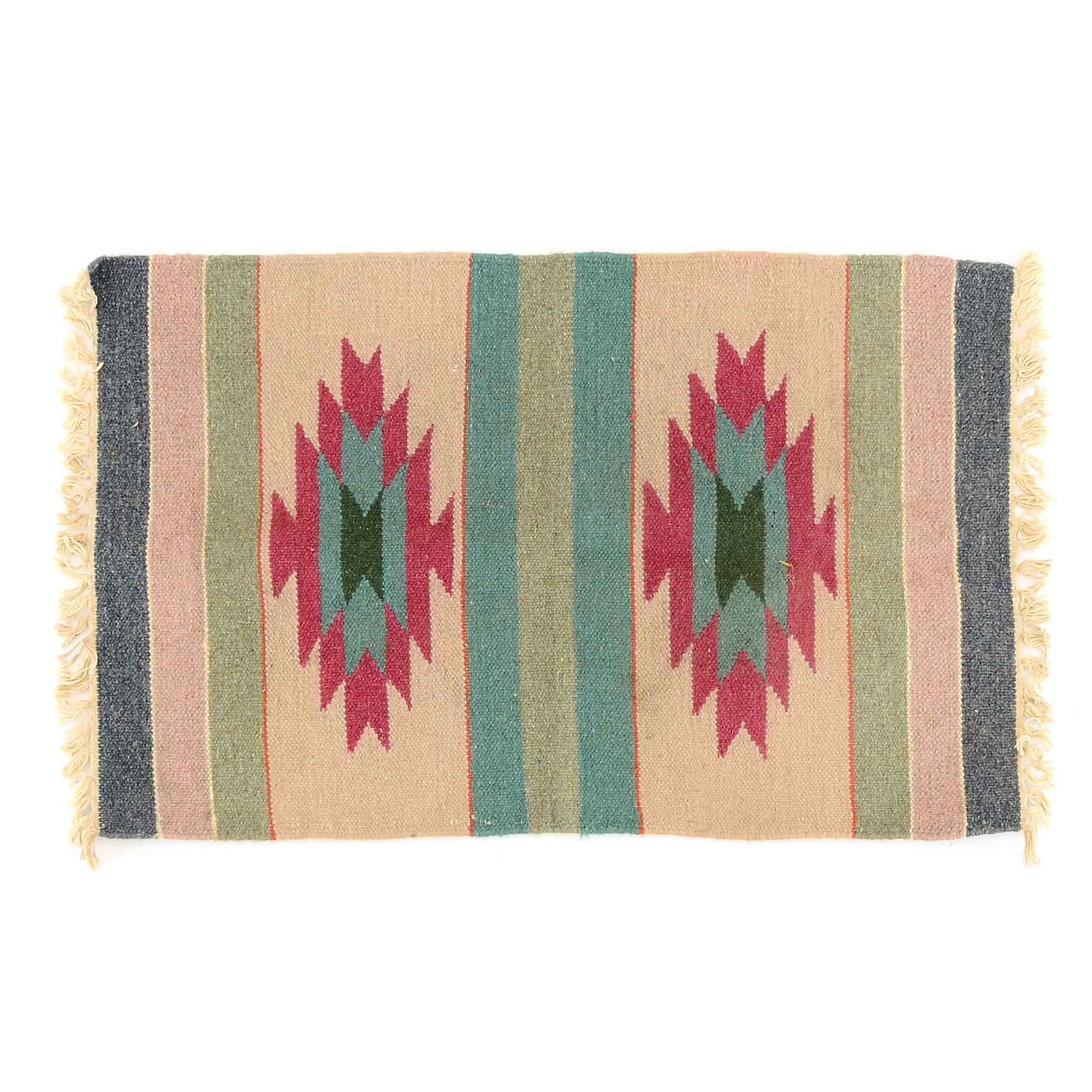 3'x2' Indian Handwoven Dhurrie Wool Accent Rug