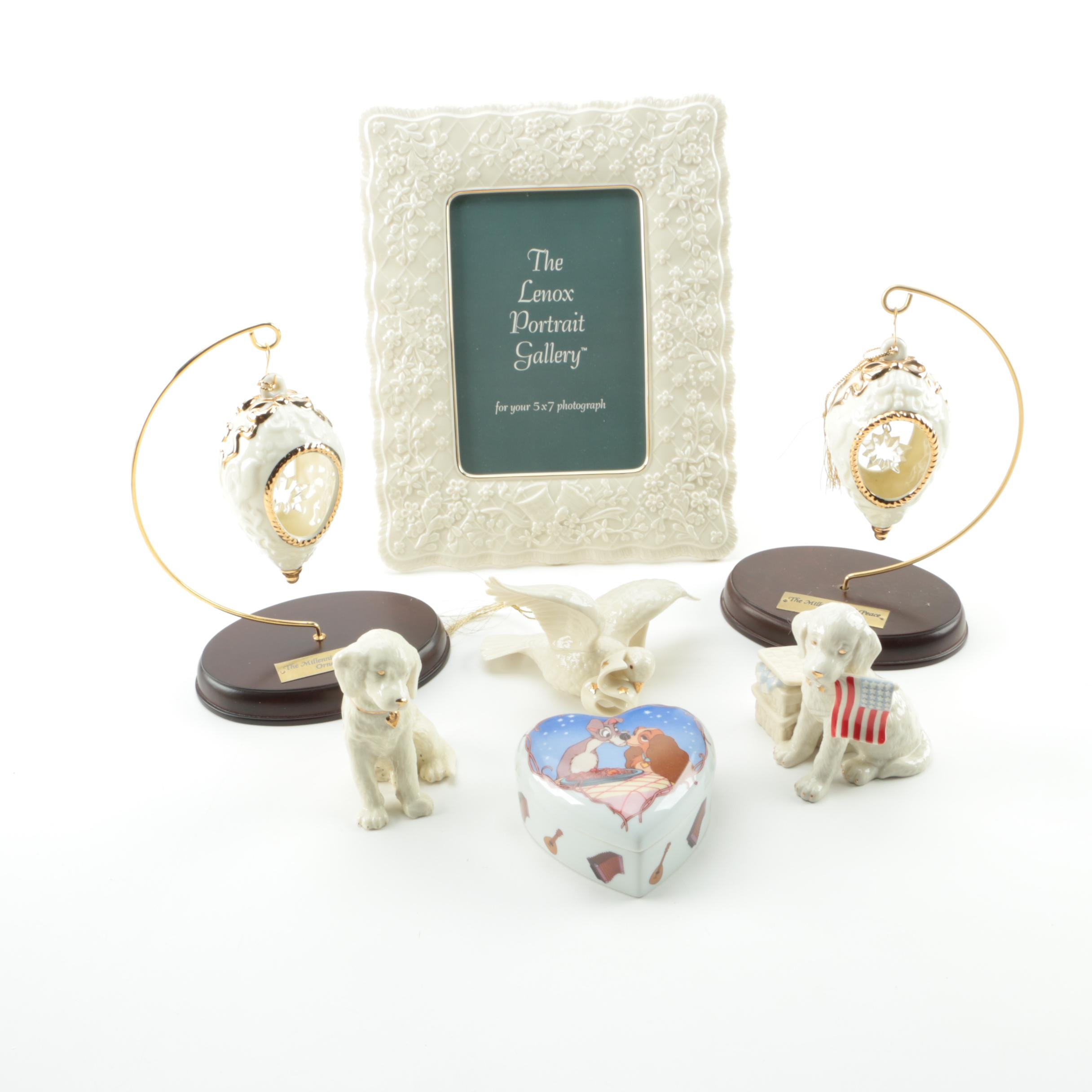 Lenox Porcelain Frame, Ornaments, Figurines, and Trinket Box