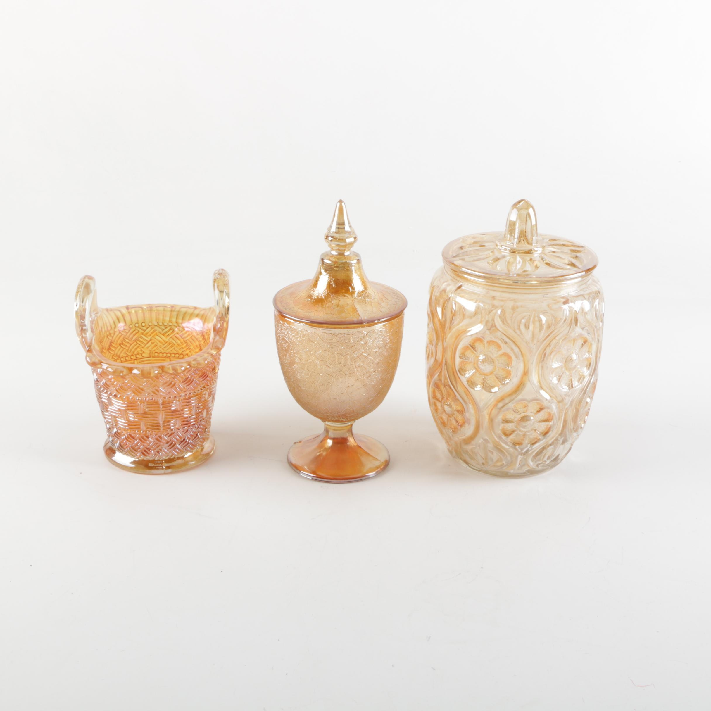 Orange Carnival Glass Containers