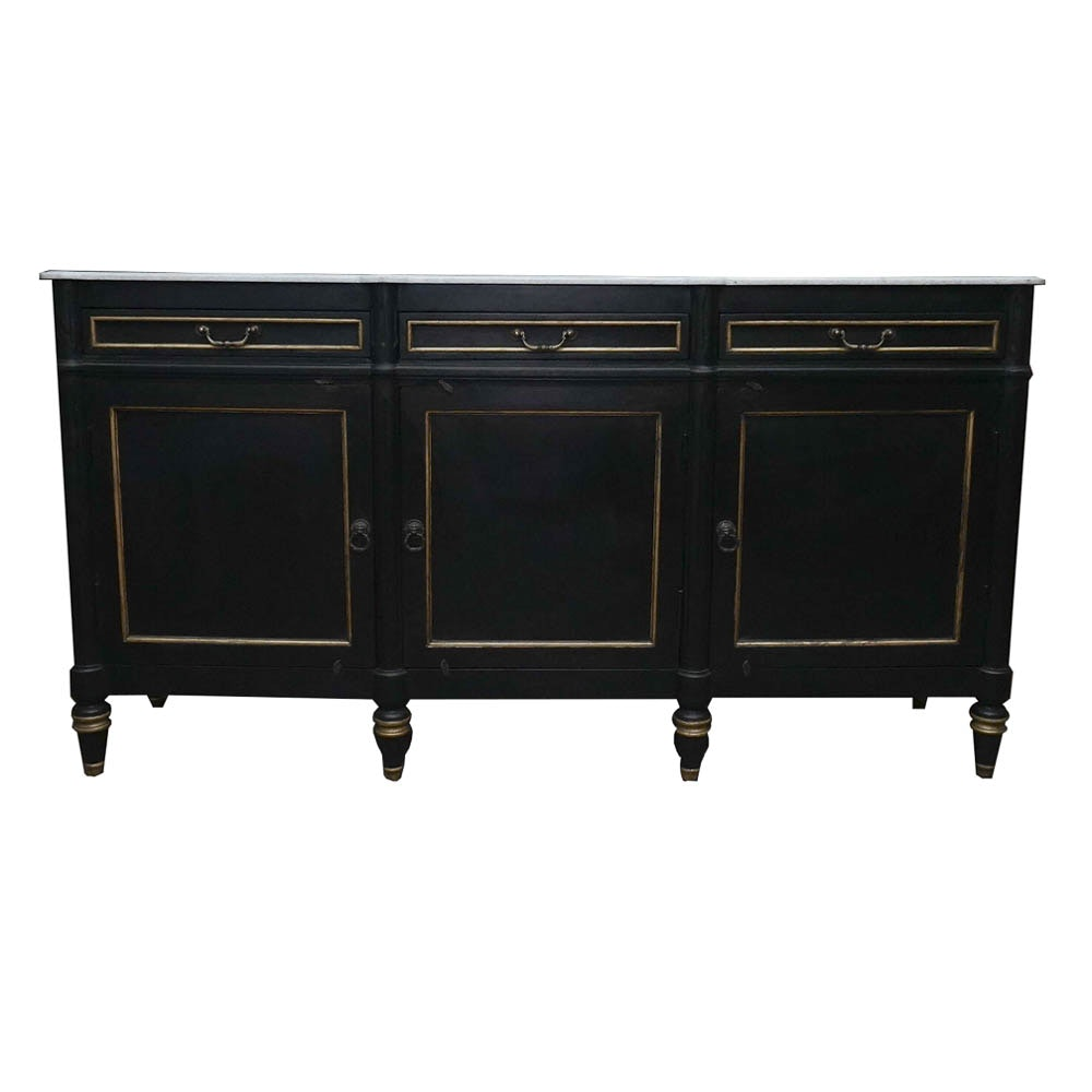 Black and Gilded Buffet with Marble Top