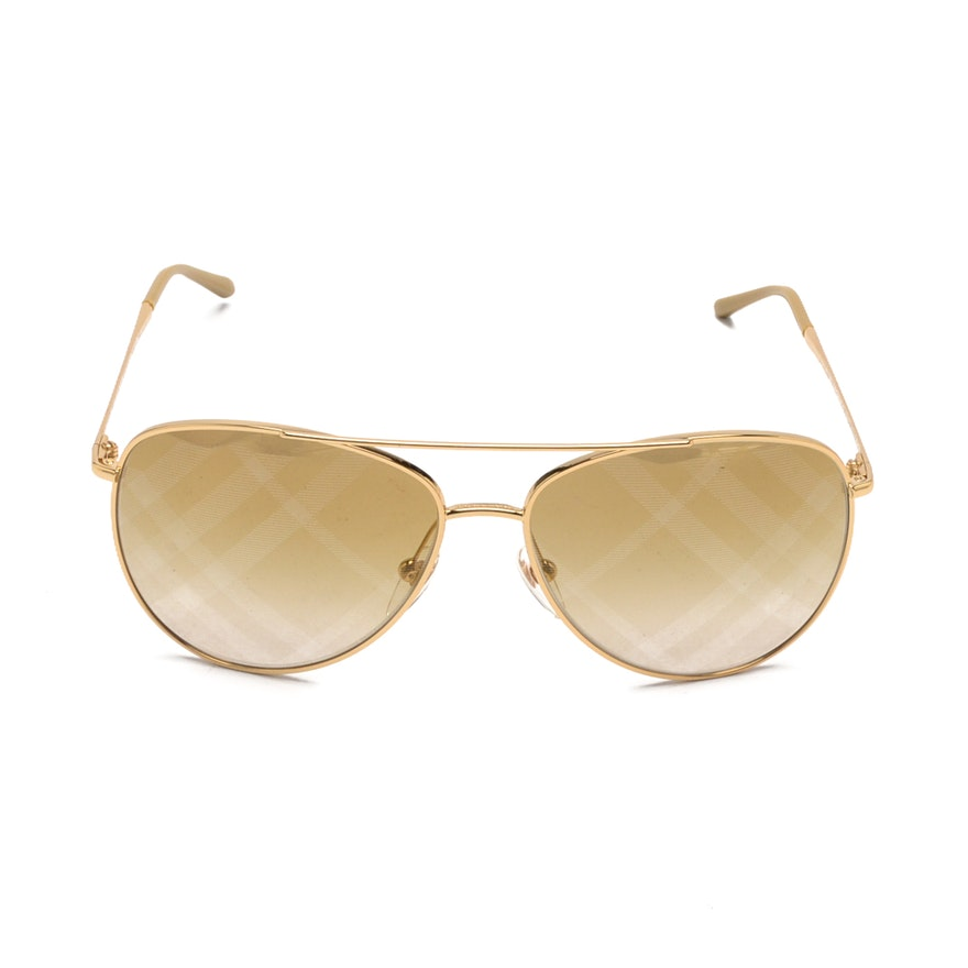 562296f8e6cf Burberry Check Aviator Sunglasses   EBTH