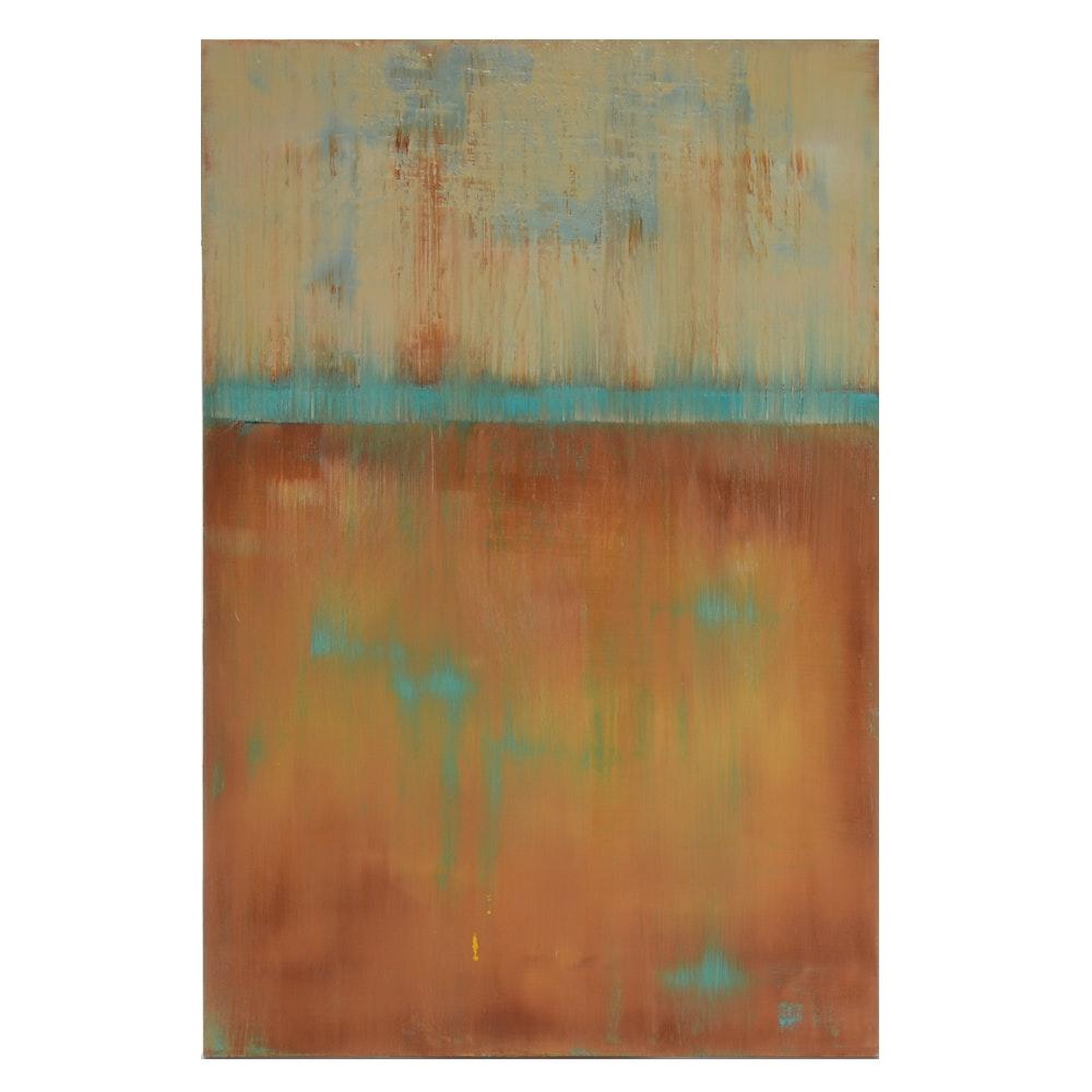 "Sarah Brown Abstract Oil Painting ""Patina"""