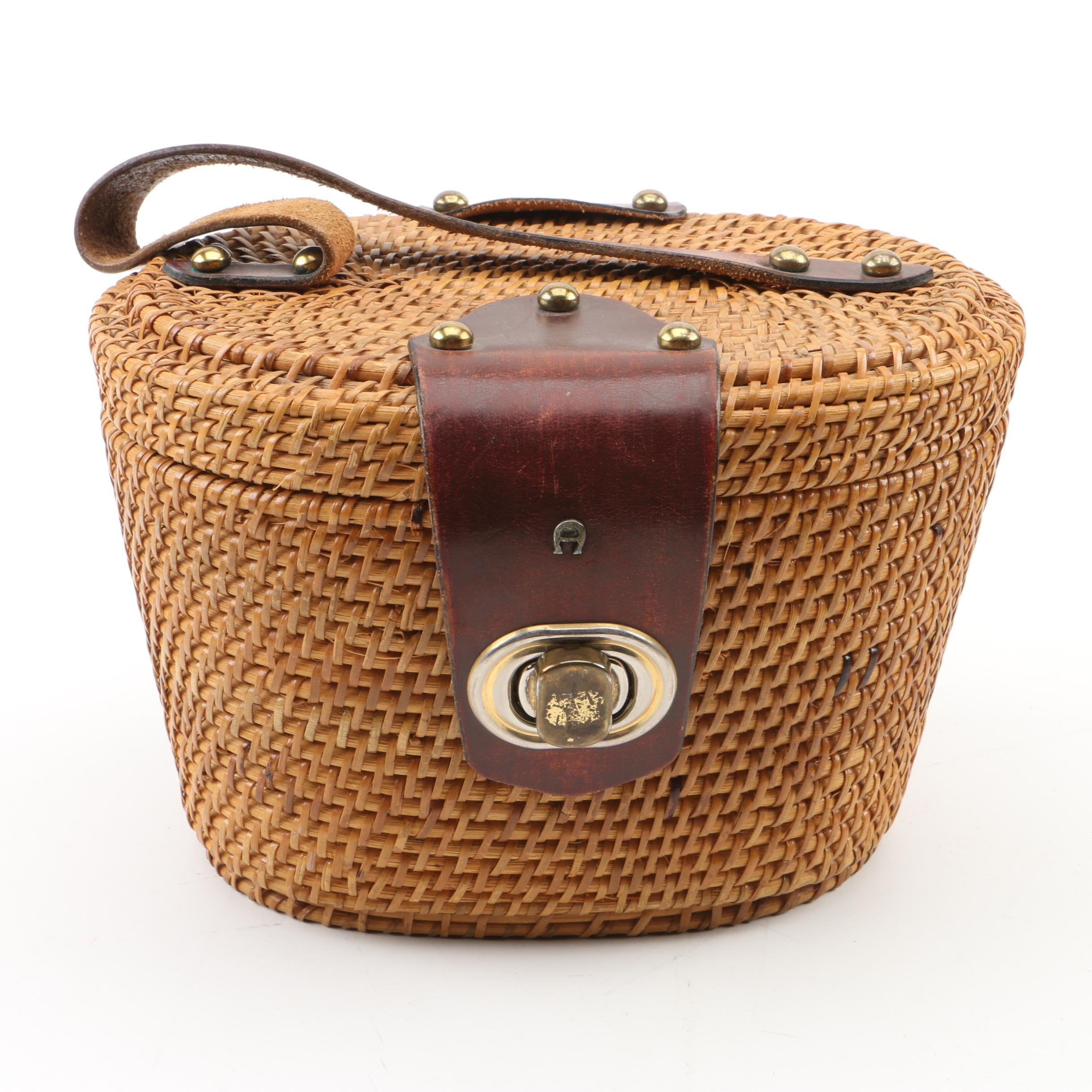 Circa 1960s Vintage Etienne Aigner Handmade Leather and Wicker Basket Purse