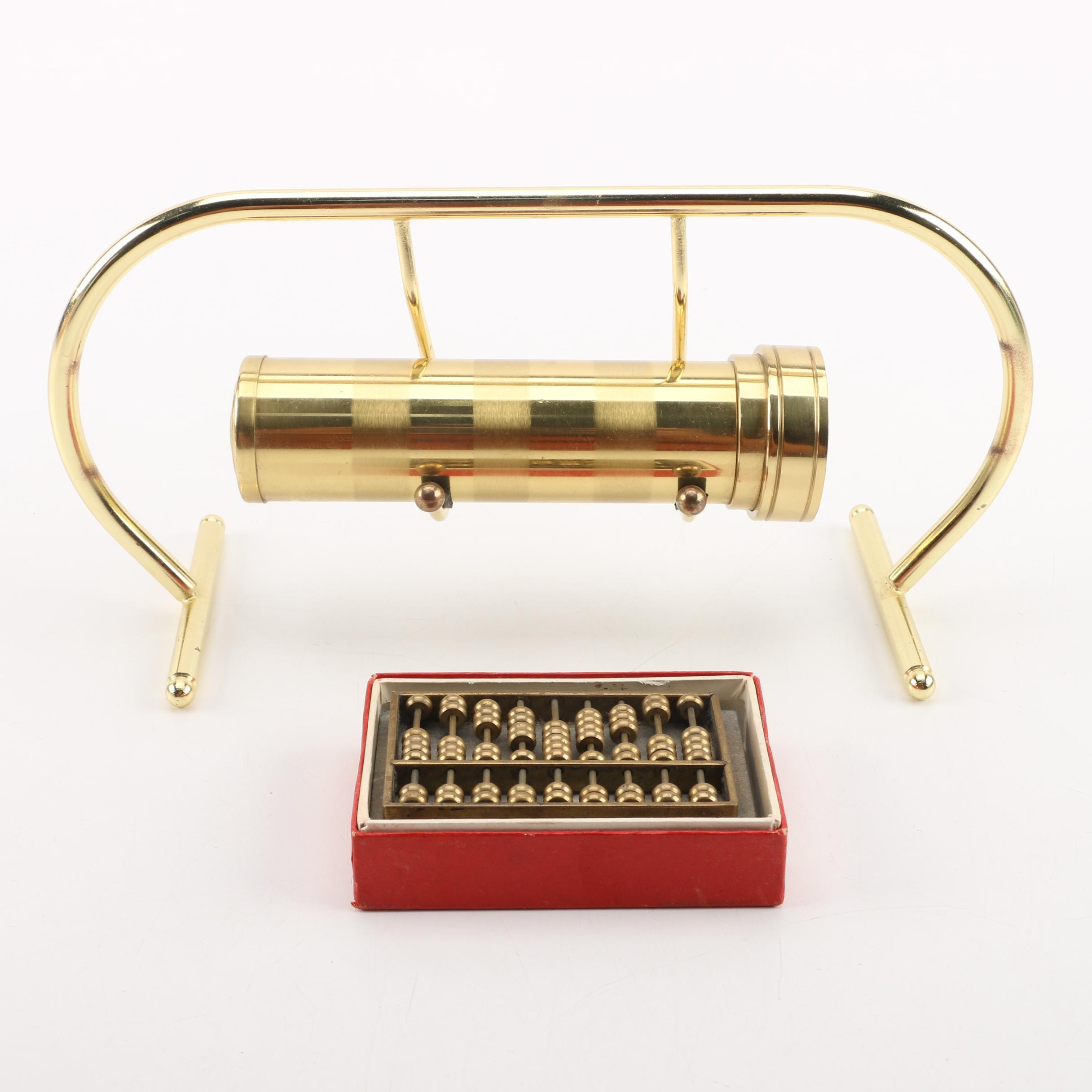 Brass Abacus and Kaleidoscope with Stand