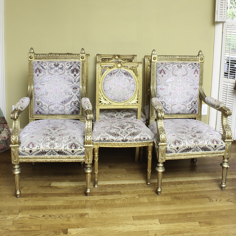 Set of Antique Louis XVI Style Giltwood Chairs
