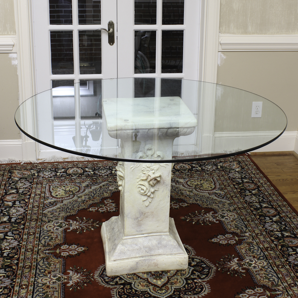 pedestal entry table 24 inch entry table with cast stone pedestal ebth