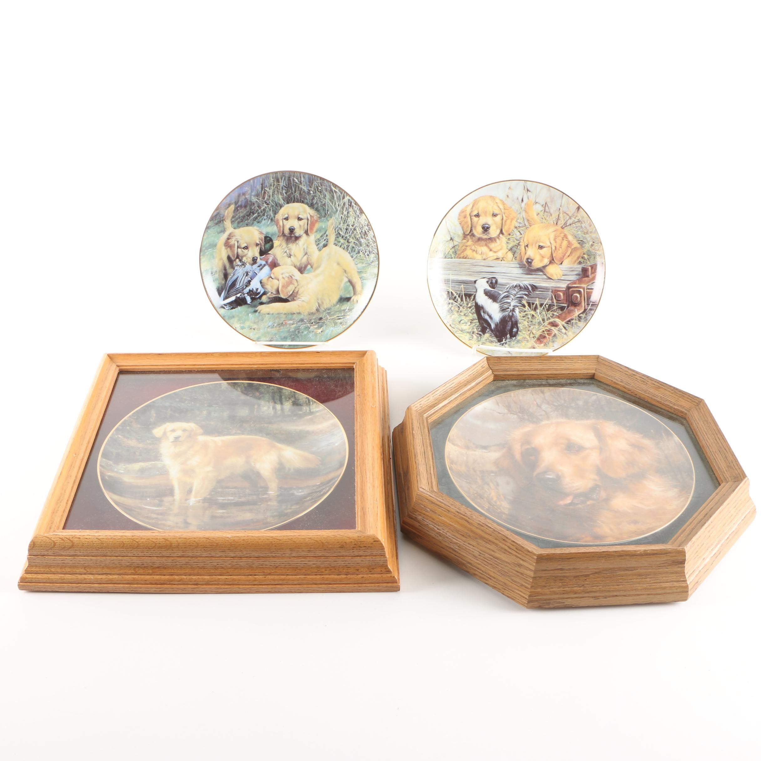 """Limited Edition Wild Things and CUI Inc. """"Golden Retriever"""" Decorative Plates"""