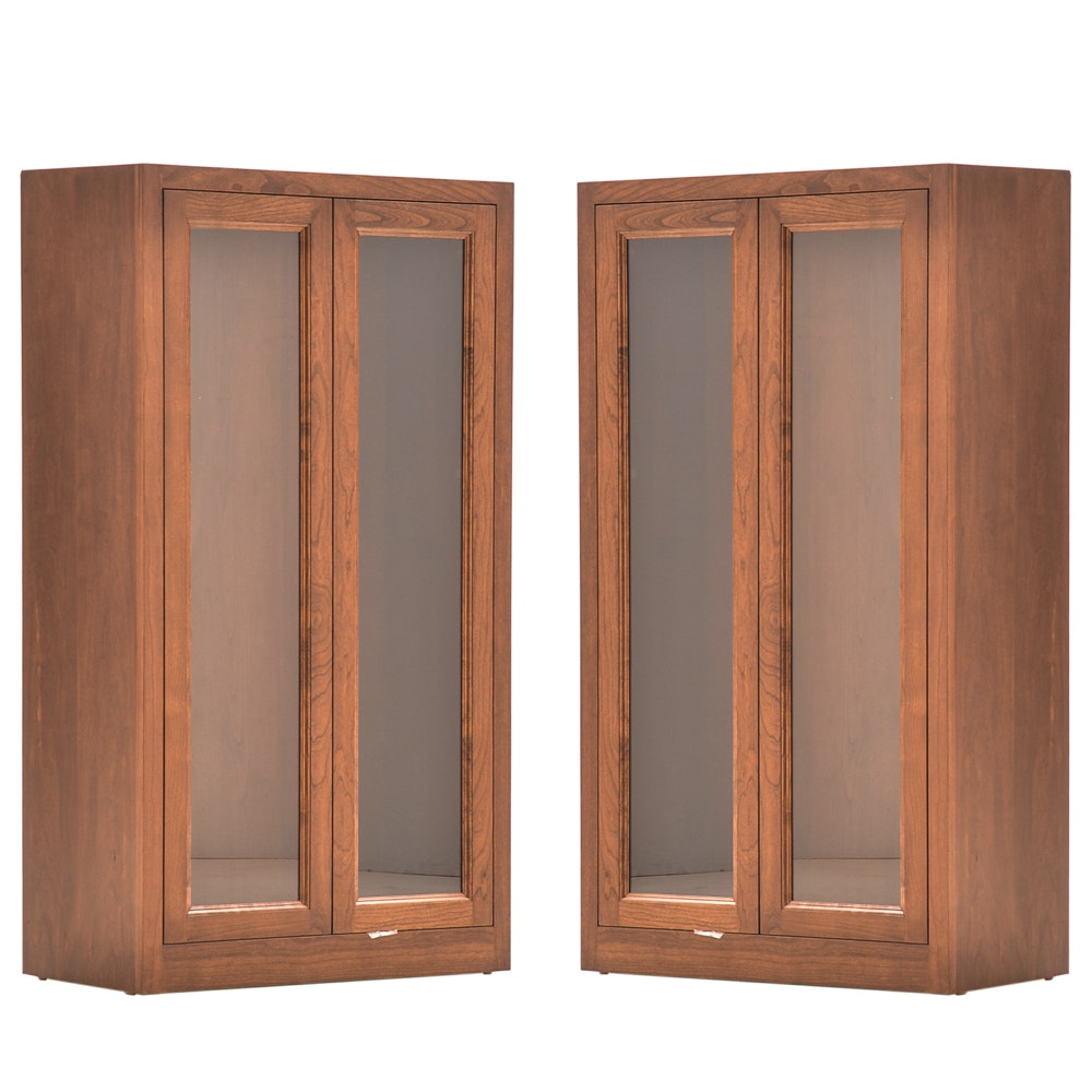 Pair of Cherry Veneer Storage Cabinets