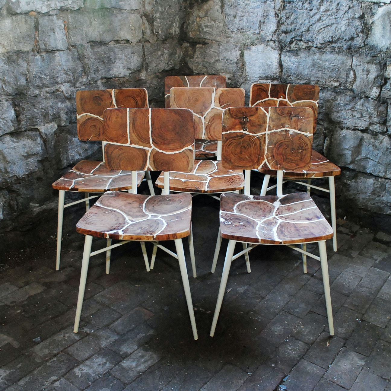 Dining Chairs with Cross-Cut Wood