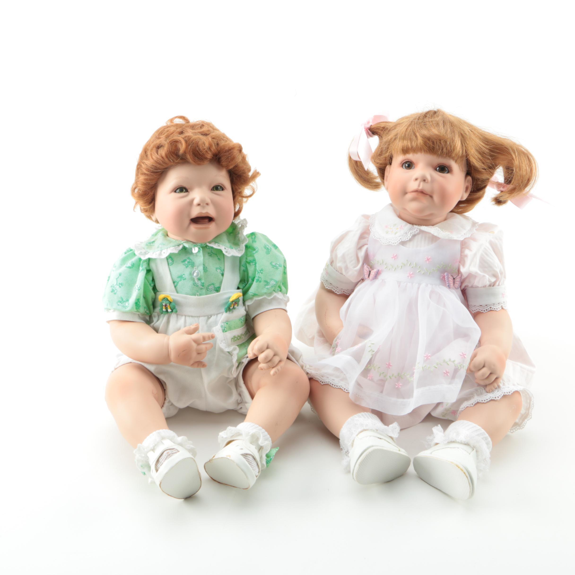 Danbury Mint Seated Porcelain Toddler Dolls