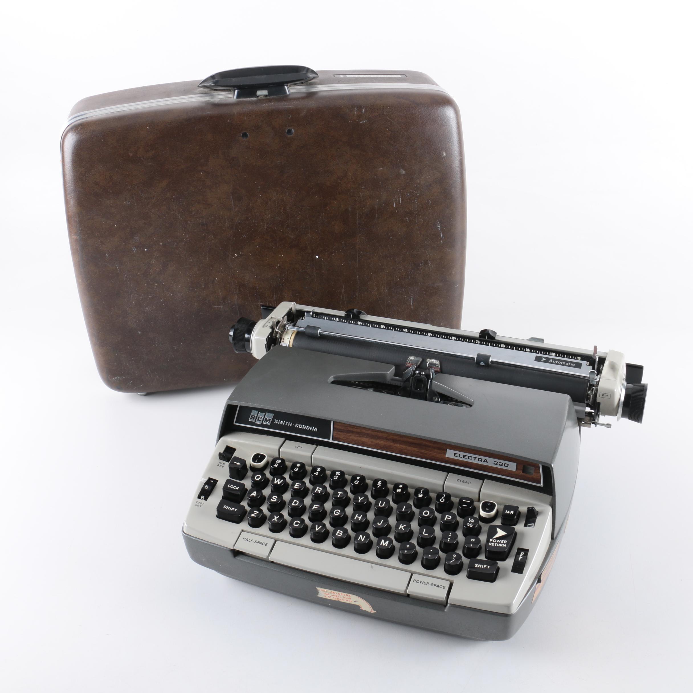 1970s Smith-Corona Electra 220 Automatic Portable Electric Typewriter