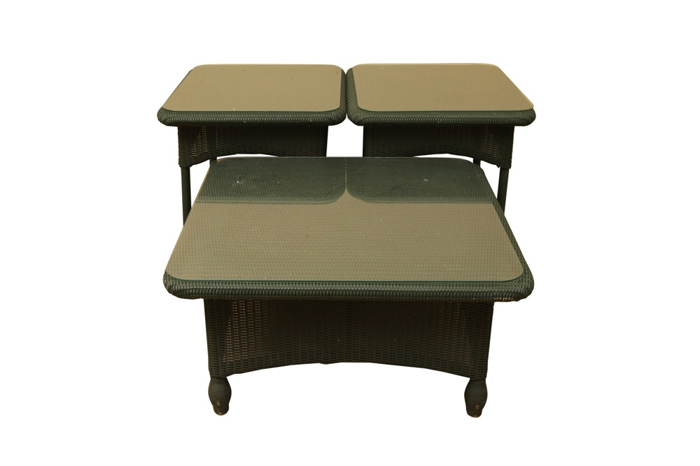 Dark Green Wicker Coffee Table and End Tables