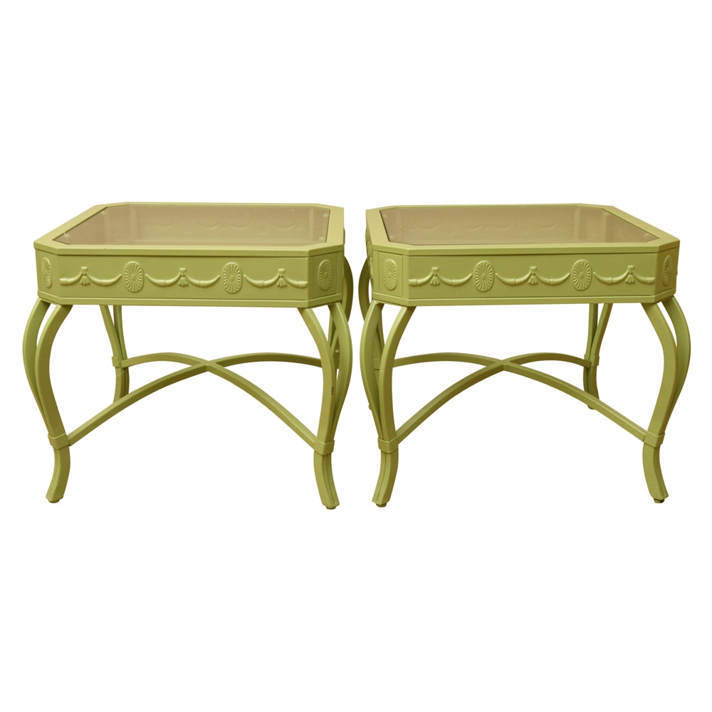 Neoclassical Style Green Metal Side Tables
