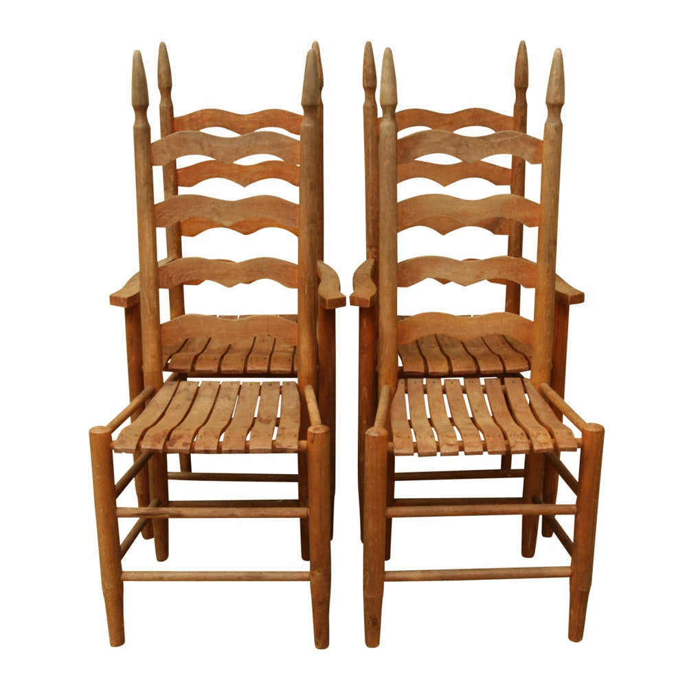 Four Mid-Century Oak Ladder-Back Chairs