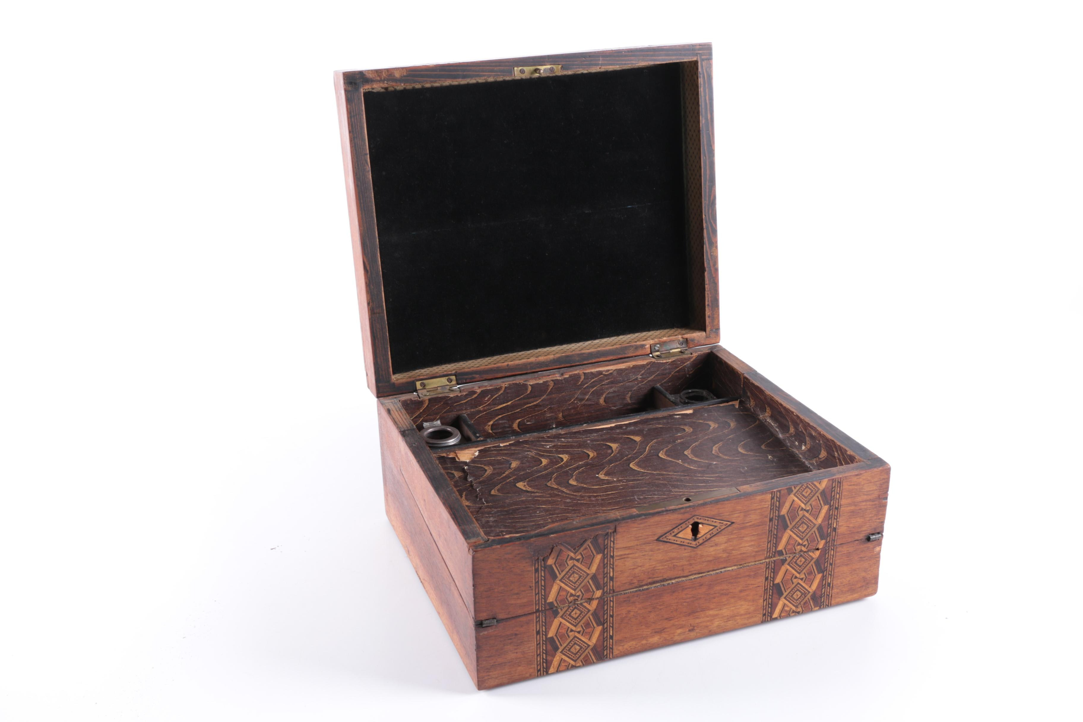 19th Century Early Tunbridgeware Walnut Lap Desk