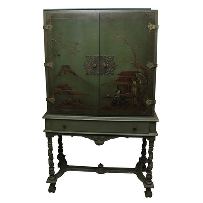 Vintage William and Mary Style Chinoiserie Desk-on-Stand