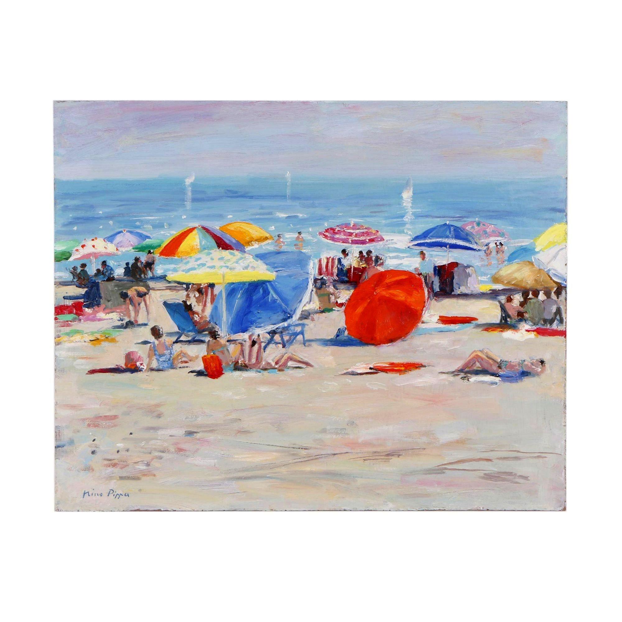 """Nino Pippa Oil Painting """"French Riviera - Beach Scene"""""""