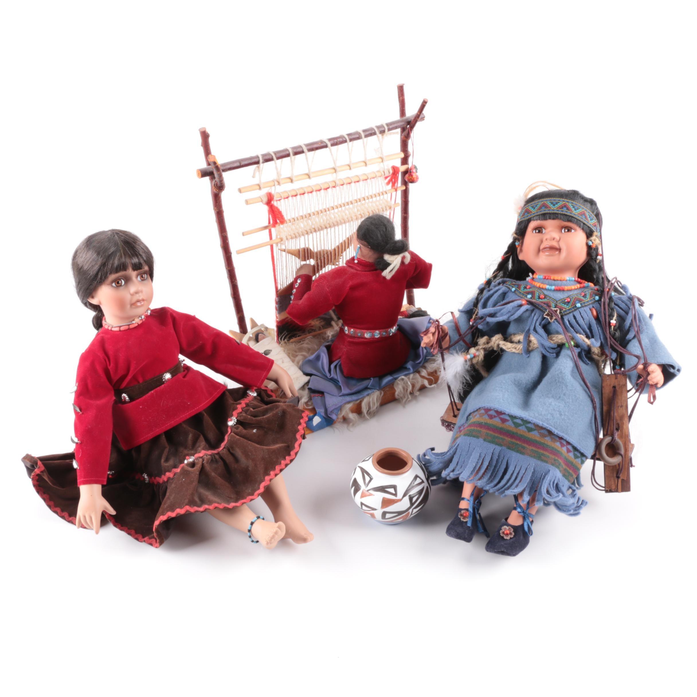 Native American Style Porcelain and Souvenir Dolls
