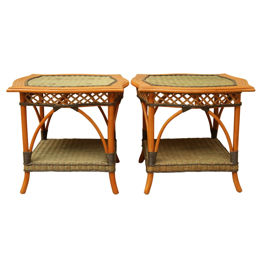 Rattan and Painted Wicker End Tables