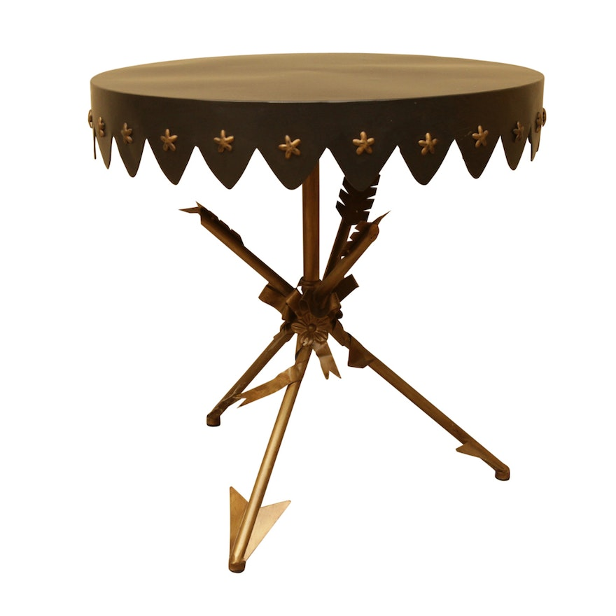 Neoclical Style Arrow Base Metal Accent Table