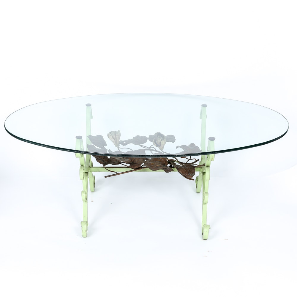 Wrought Iron and Ornamental Brass Coffee Table