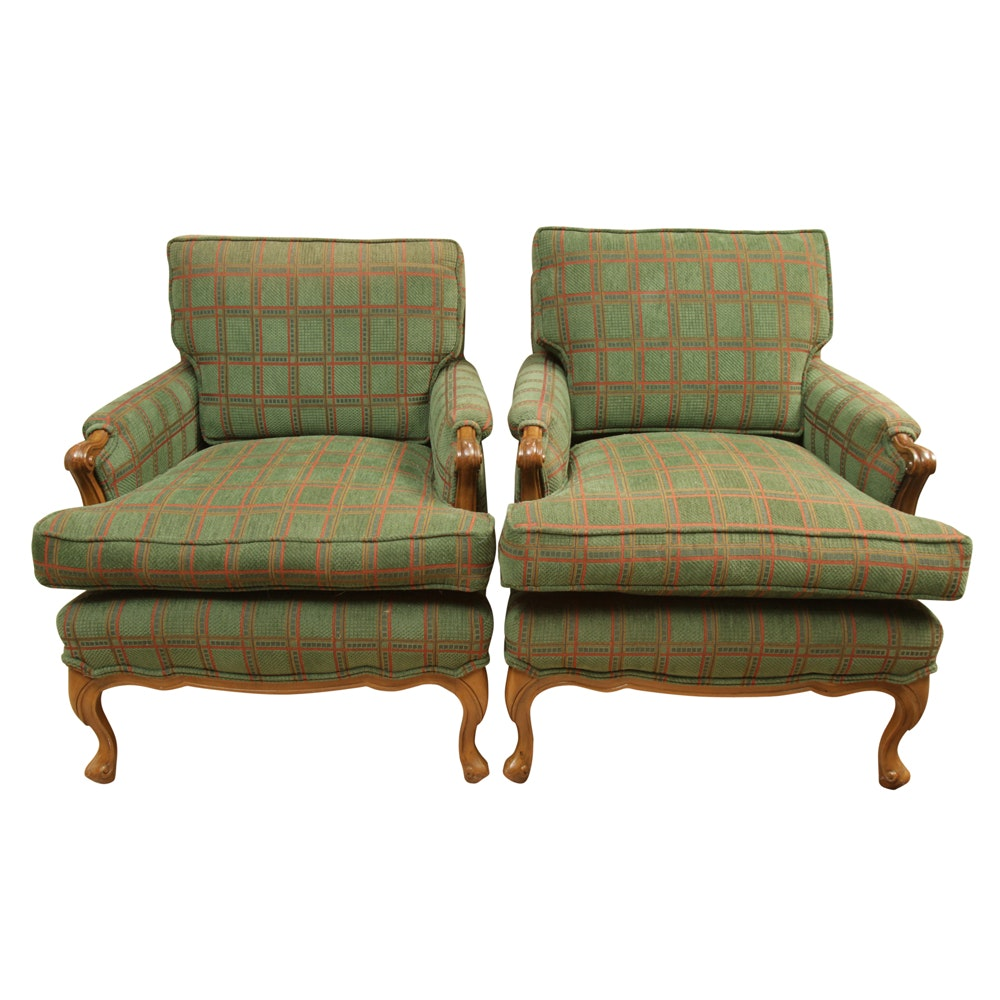 Pair of Vintage Upholstered Armchairs