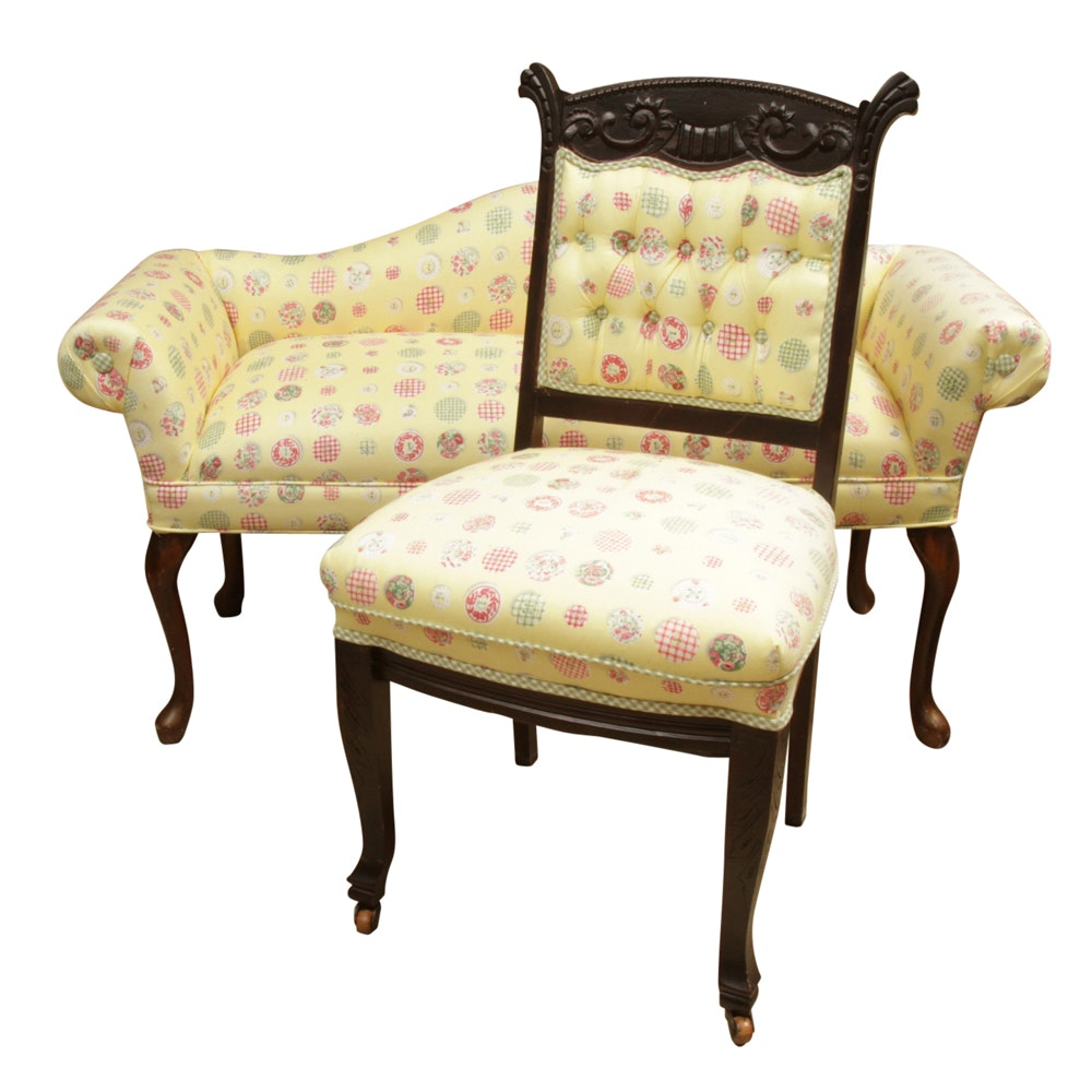 Yellow Chintz Upholstered Settee and Antique Side Chair