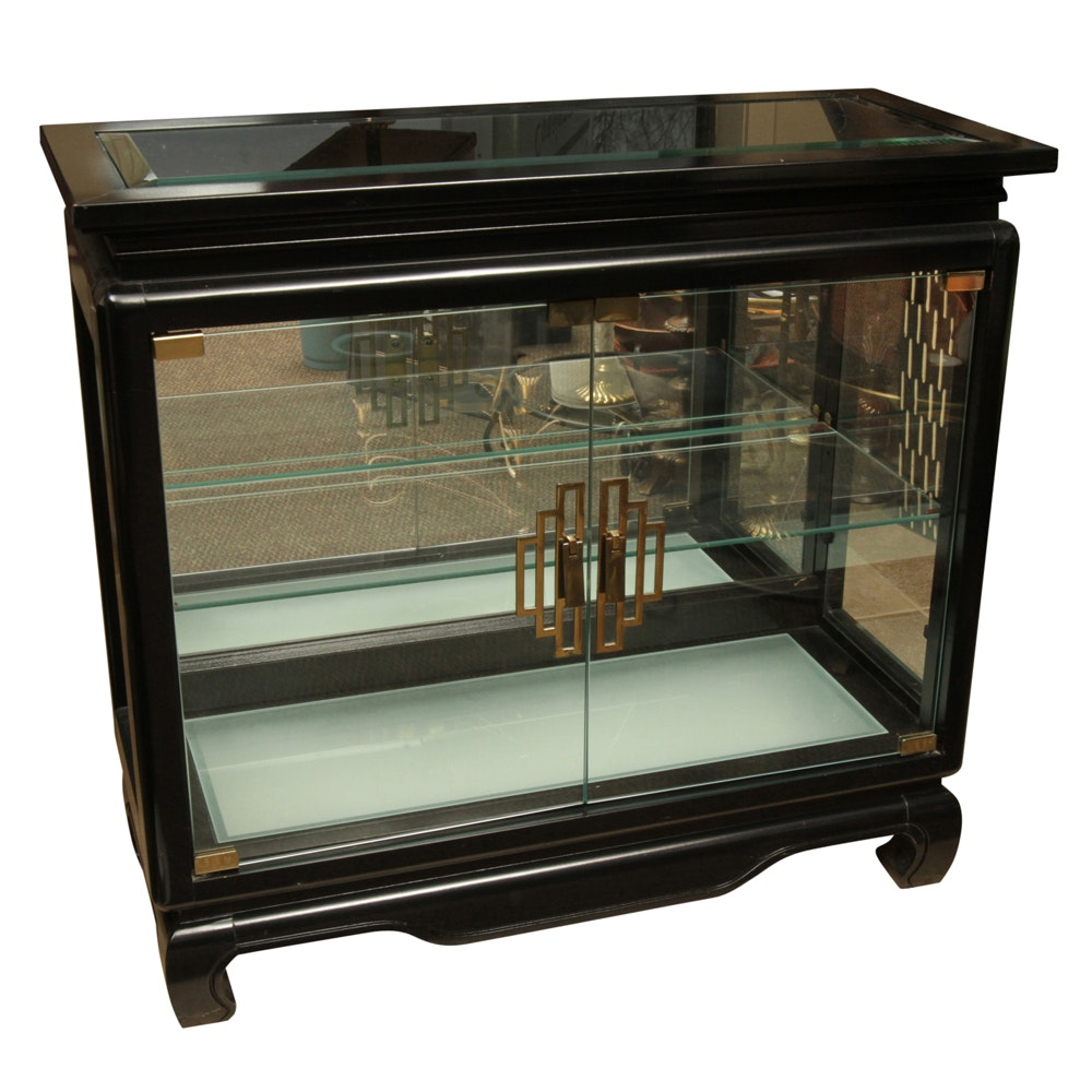 Asian Style Lacquered Display Cabinet by Pulaski