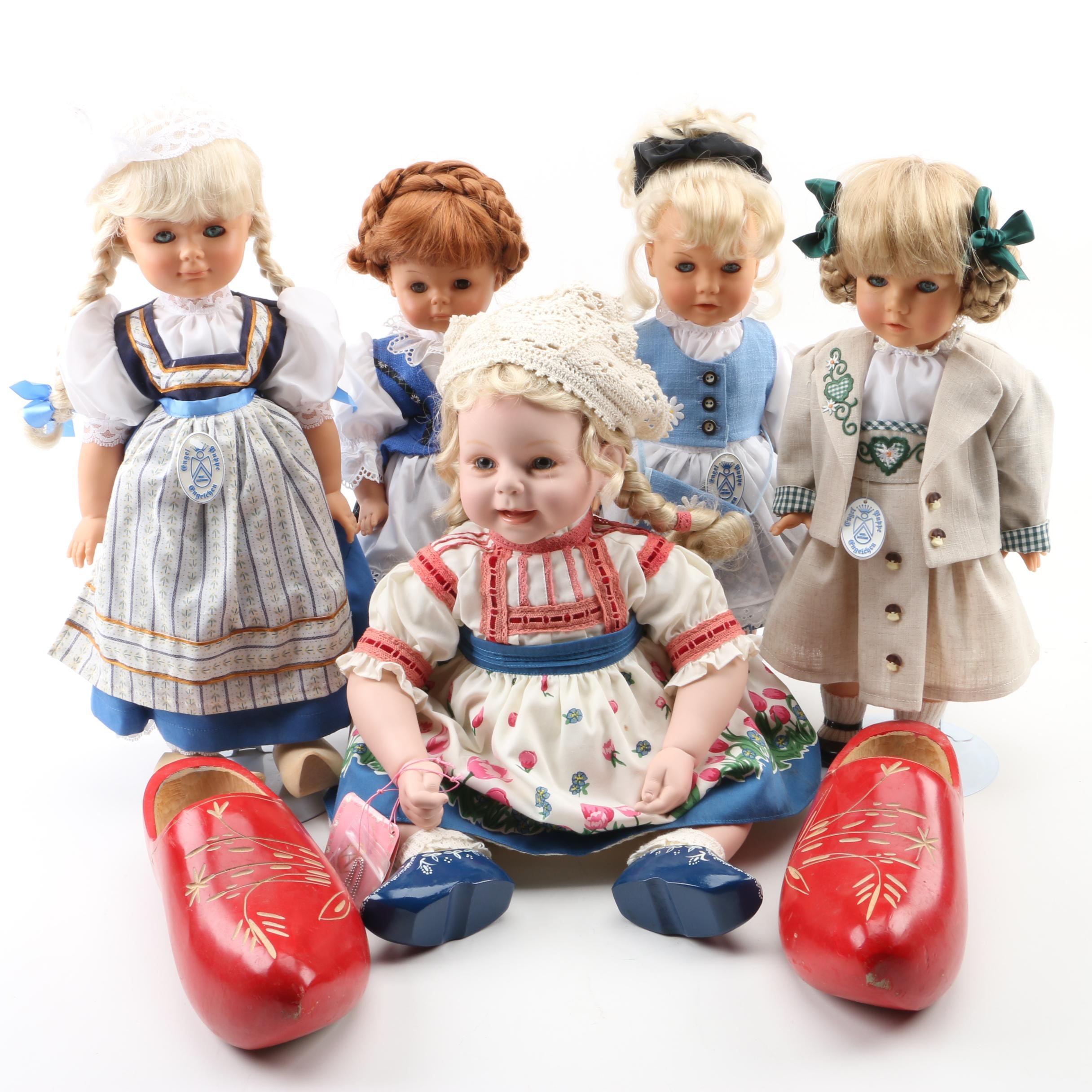Porcelain and Ceramic Scandinavian Dolls with Wood Clogs