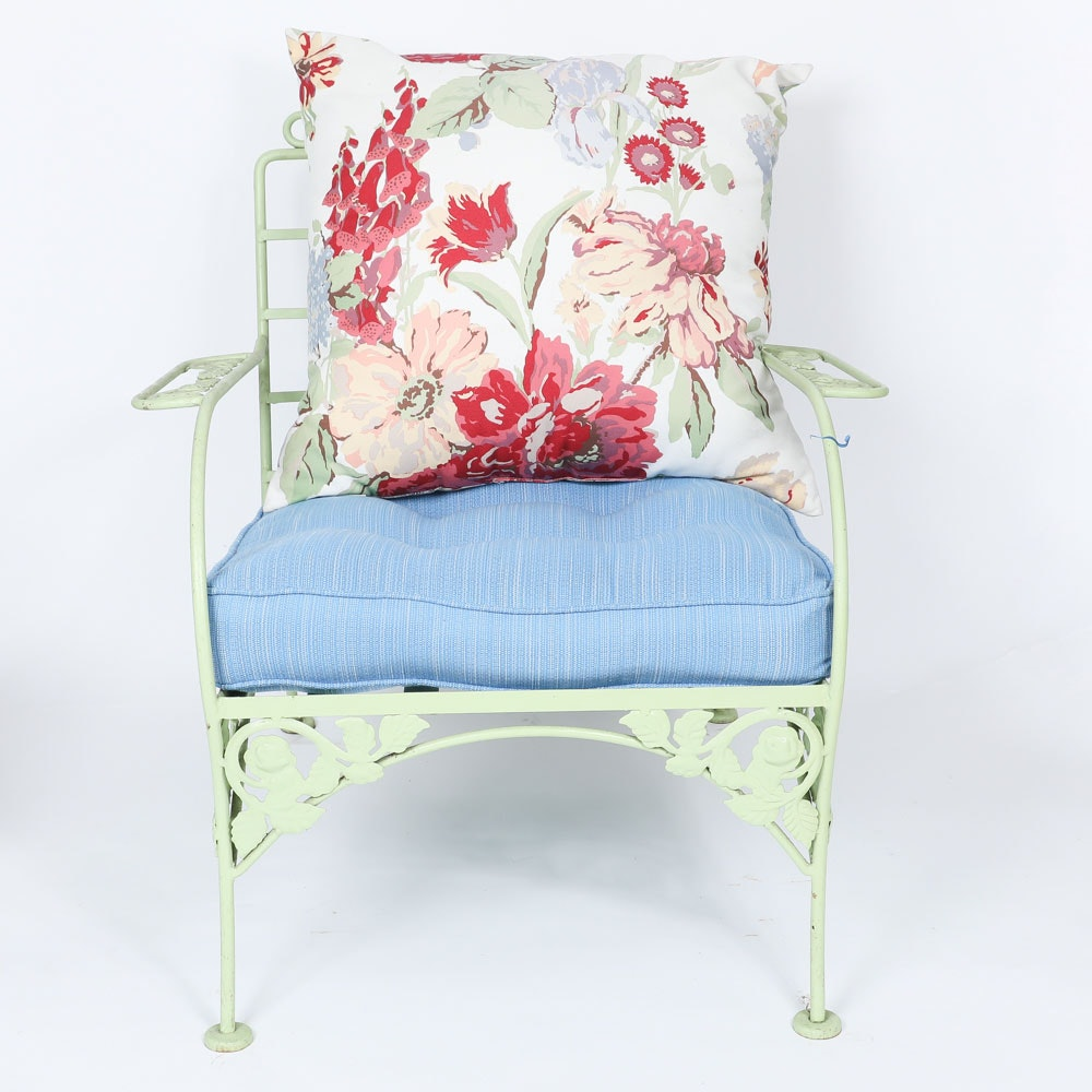 Floral Wrought Iron Patio Chair with Cushions