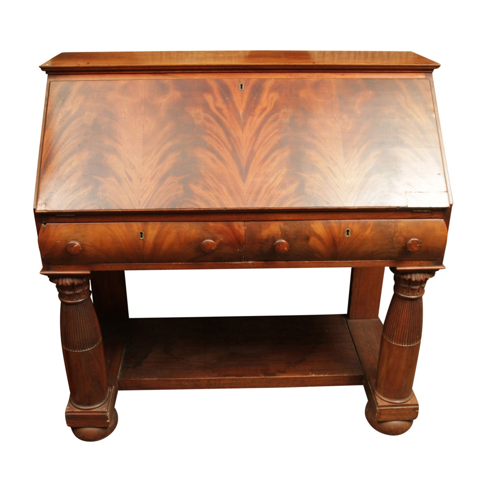 Antique Empire Style Flame Mahogany Slant-Front Desk