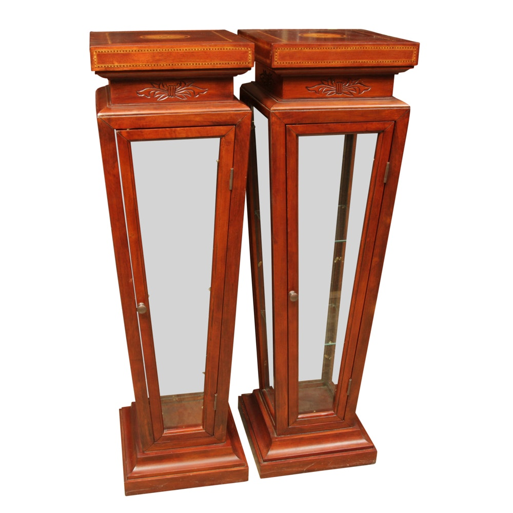 Pair of Italian Style Display Pedestal Cabinets