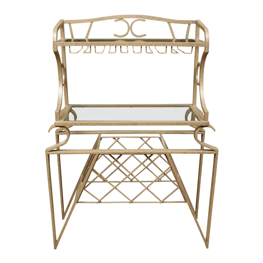 Wrought Metal Bar Stand with Wine Storage