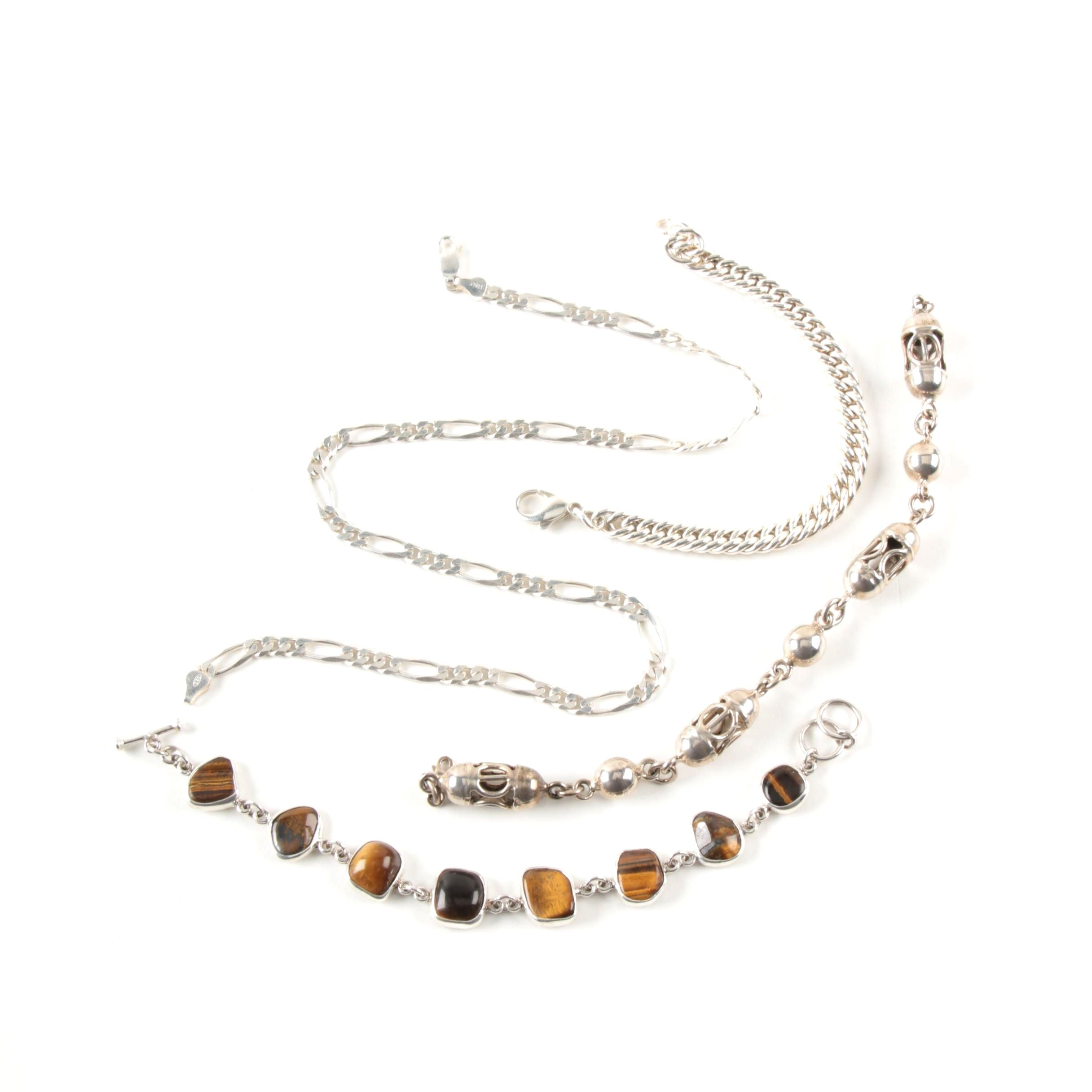 Selection of Sterling Silver Tiger's Eye Link Bracelets and Necklace