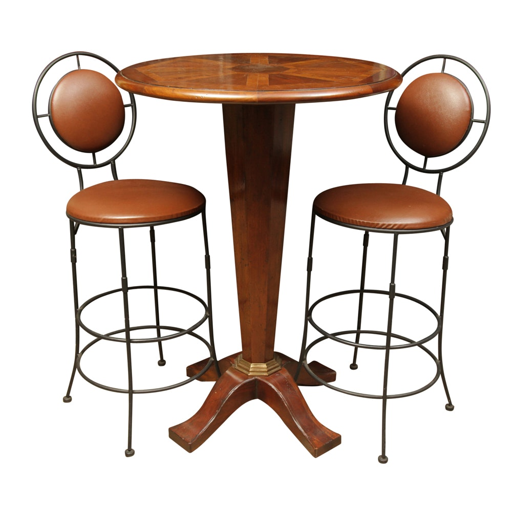 Bar Height Inlaid Table and Two Chairs