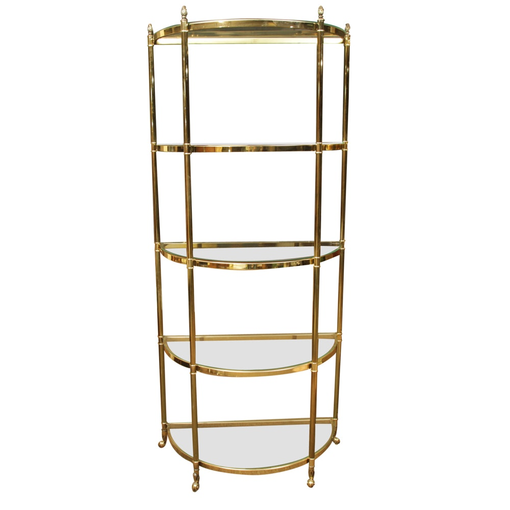 Brass Tone Demilune Étagère with Glass Shelves