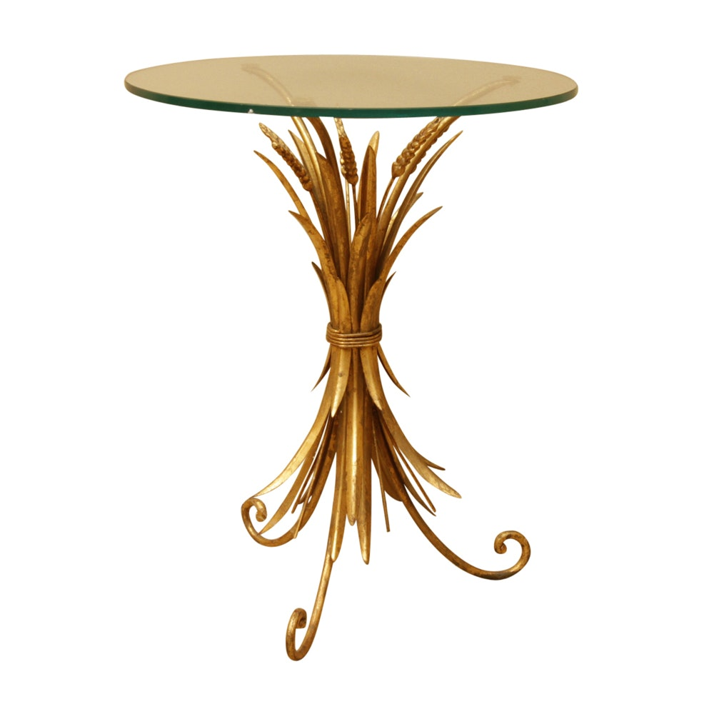 Hollywood Regency Style Wheat Sheaf Accent Table