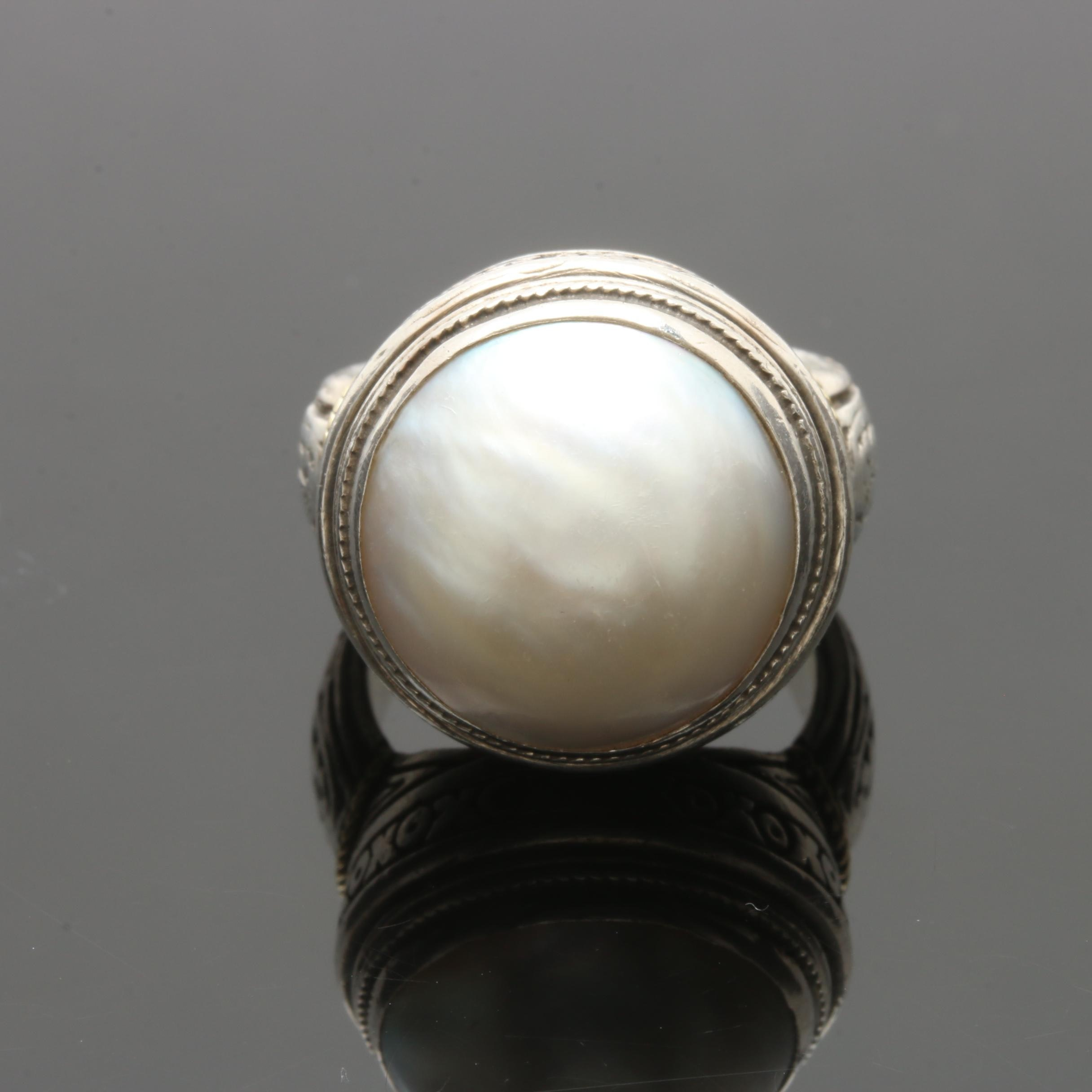 Konstantino Sterling Silver Mabé Pearl Ring with 18K Yellow Gold Accents