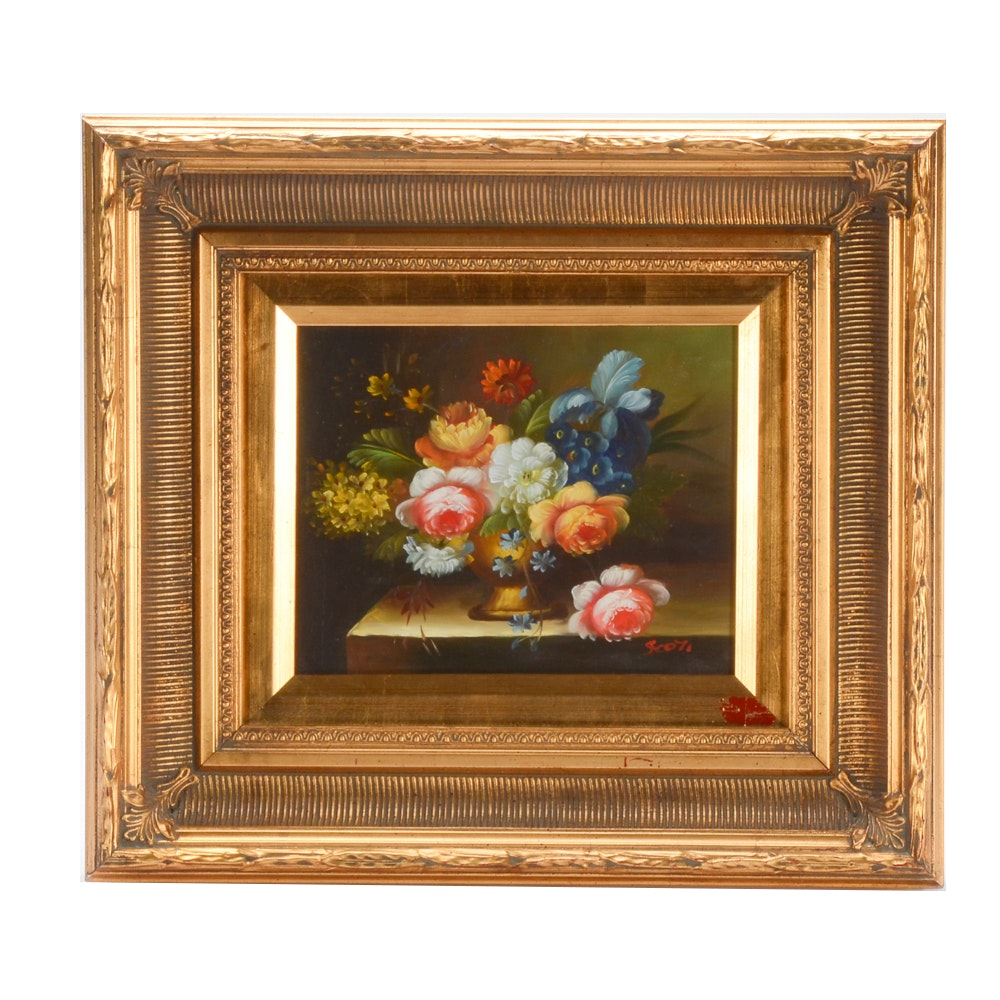 Signed Oil on Board Painting of Floral Still Life