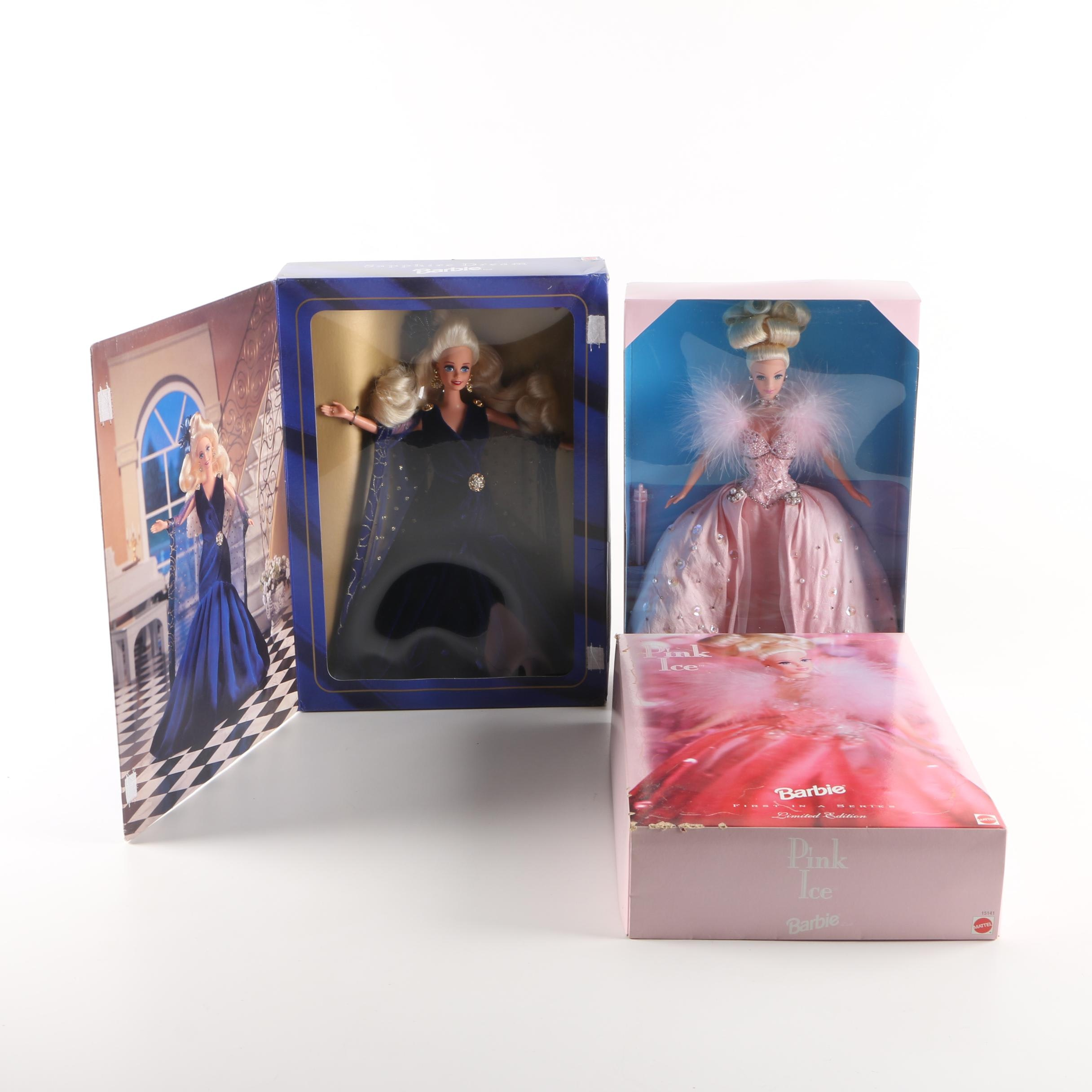 """Mattel First in Series """"Pink Ice"""" and """"Sapphire Dream"""" Barbie Dolls"""