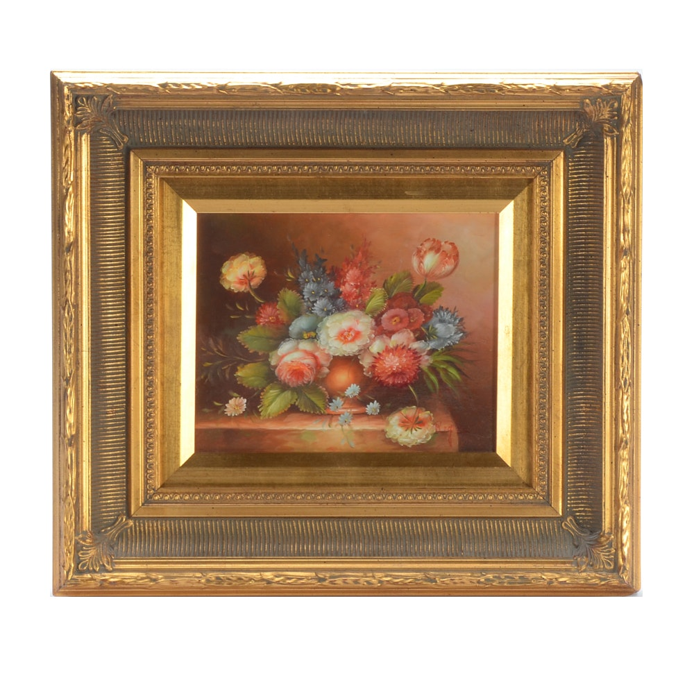 Signed Oil Painting of Board of Floral Still Life