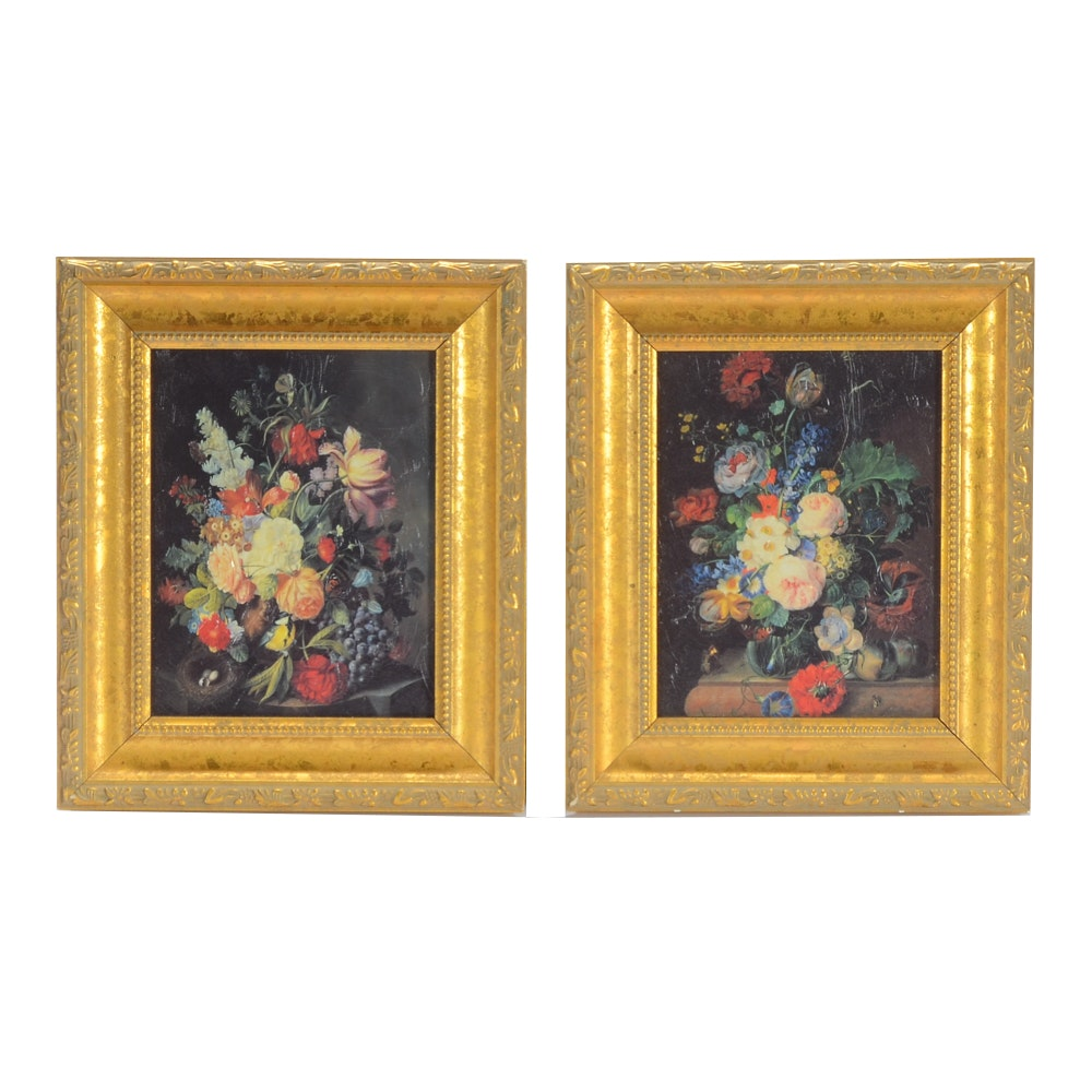Two Floral Still Life Offset Lithograph Prints on Board